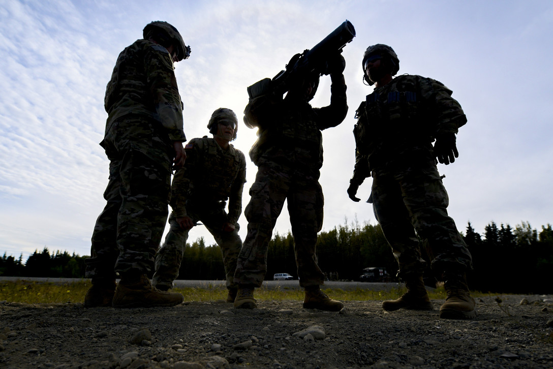Soldiers from the 1st Battalion, 501st Parachute Infantry Regiment, 4th Infantry Brigade Combat Team (Airborne), 25th Infantry Division, U.S. Army Alaska, conduct training with the M3 Carl Gustaf 84mm recoilless rifle Sept. 6, 2018, at Joint Base Elmendorf-Richardson, Alaska. (Jamal Wilson/Air Force)