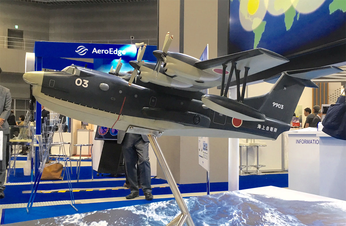 Japan's ShinMaywa displayed a model of its US-2 amphibious aircraft at the exhibition. The company is continuing small-scale production, and hoping that interest from India and Indonesia results in contracts. (Mike Yeo/Staff)
