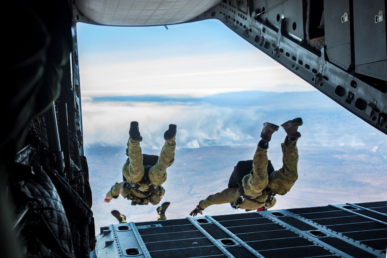 U.S. and Australian special operations forces conduct a high-altitude low-opening parachute jump from a Royal Australian Air Force C-27J Spartan on July 17, 2019, during Talisman Sabre in Queensland, Australia. (Lance Cpl. Nicole Rogge/Marine Corps)