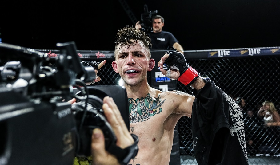 Marine veteran Shane Kruchten gets his close-up after a Dec. 31, 2016, win in Madison Square Garden. (World Series of Fighting)