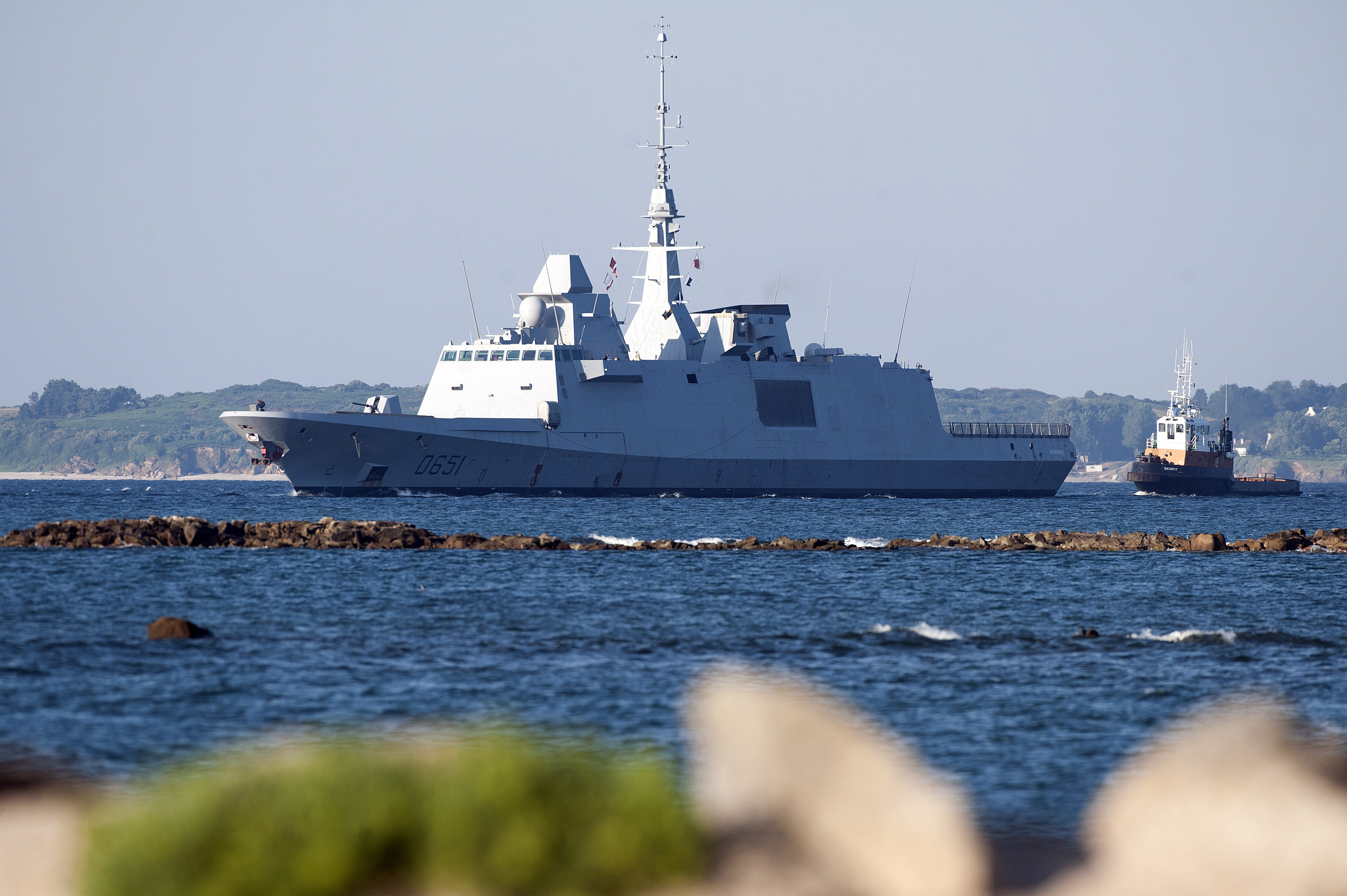 The French Navy's FREMM warship Normandy on July 2, 2014, in Larmor-Plage, near Lorient, Brittany. (Jean-Sebastien Evrard/AFP via Getty Images)
