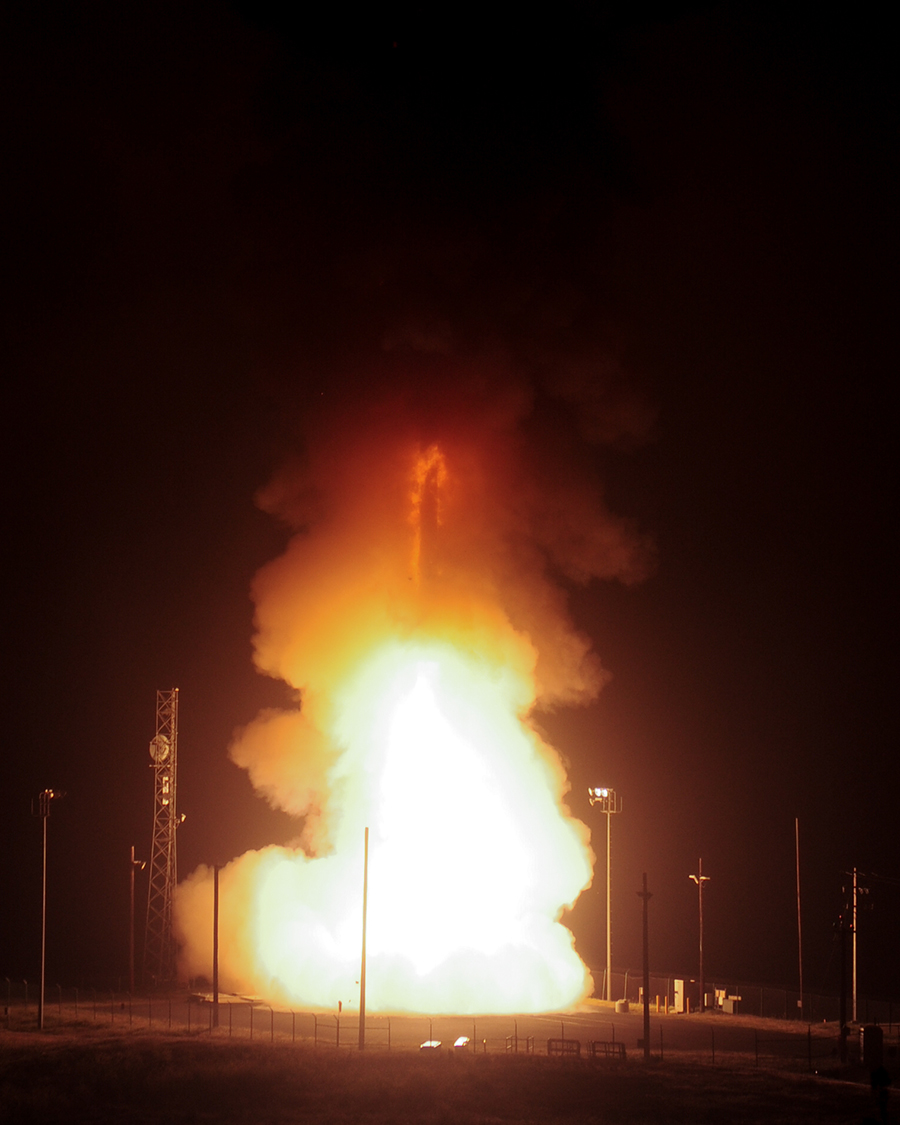 An unarmed Minuteman III intercontinental ballistic missile launches during an operational test at 5:26 a.m. Pacific Daylight Time Wednesday, April 25, 2018, at Vandenberg Air Force Base, Calif. (Joe Davila/Air Force)