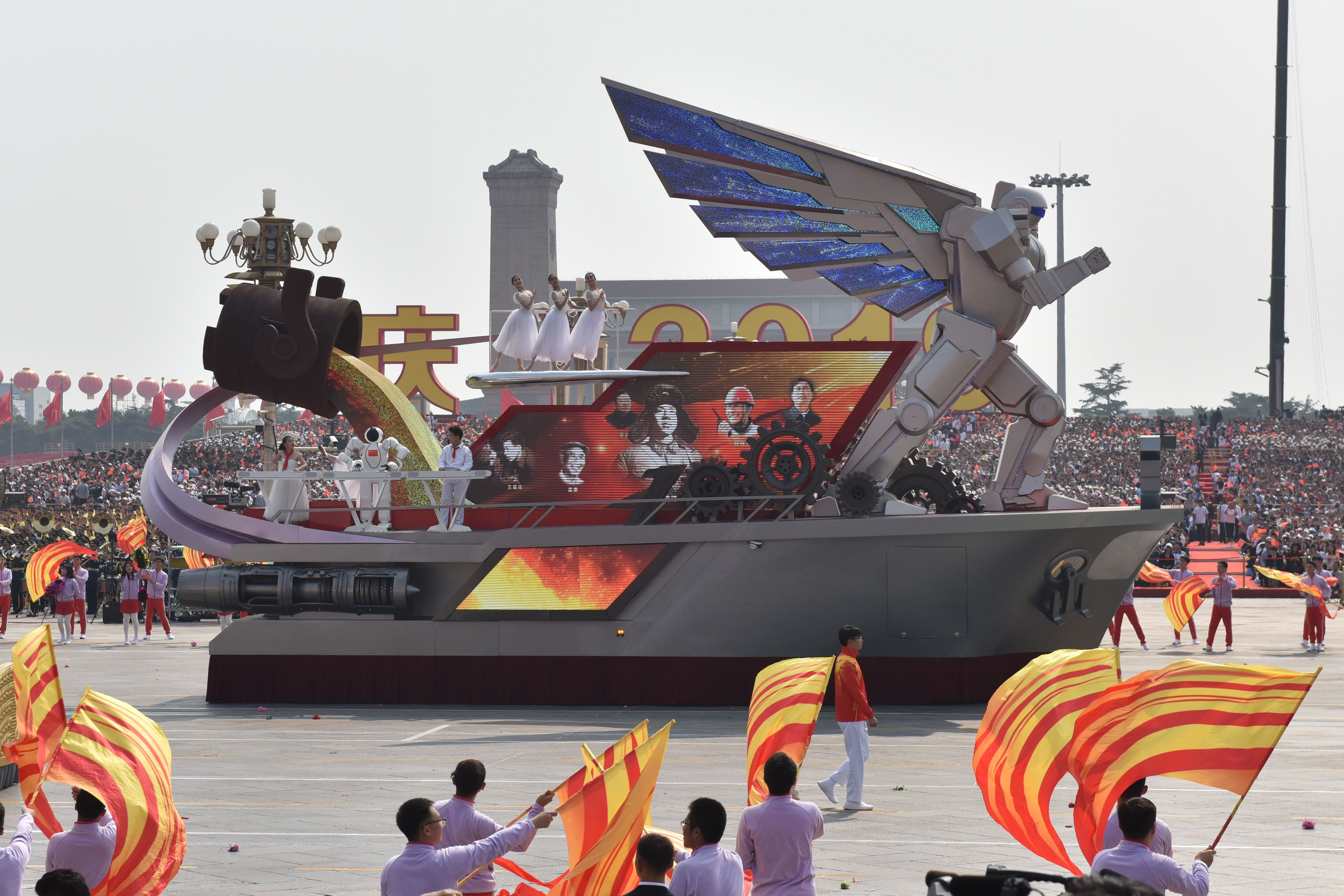The Liaoning province float featured a giant winged robot (Greg Baker/AFP via Getty Images)