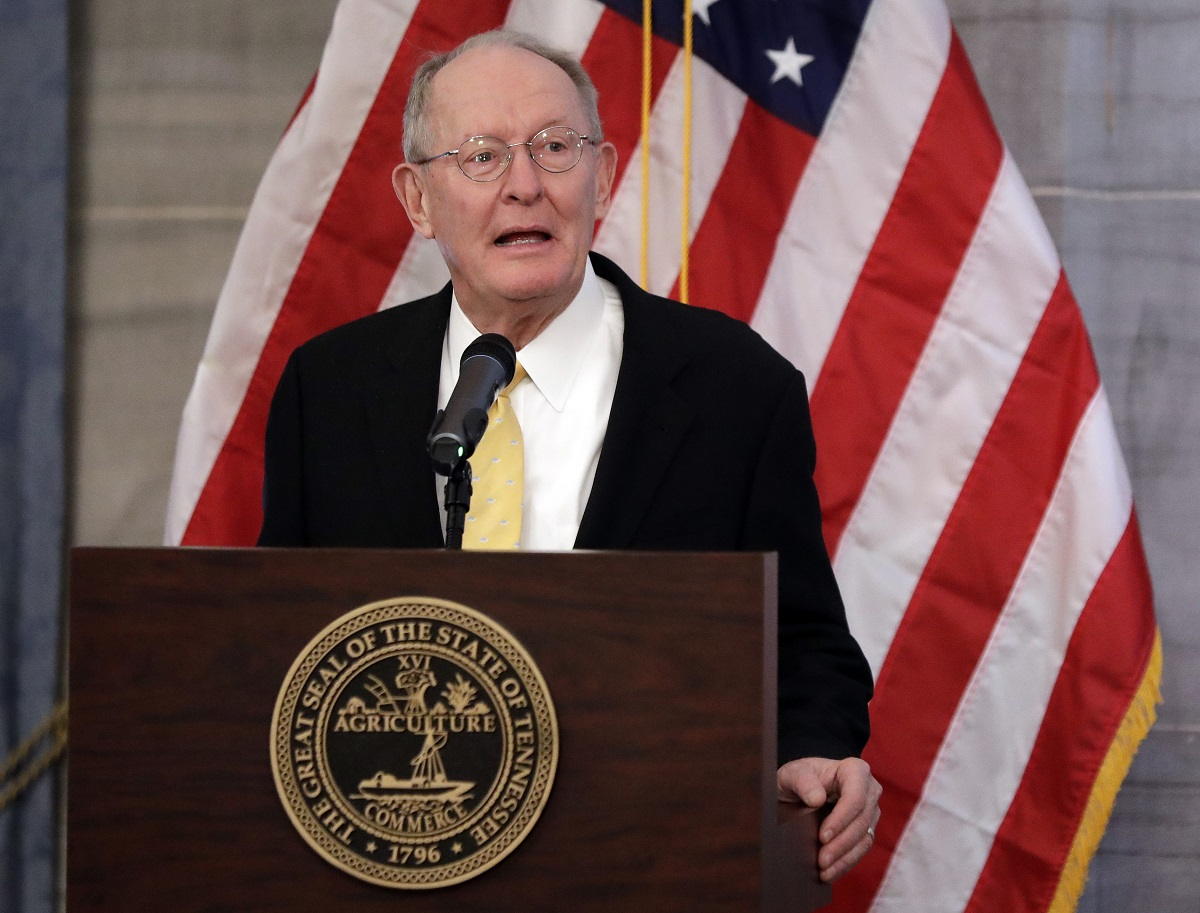 U.S. Sen. Lamar Alexander, R-Tenn., speaks at the unveiling of the official portrait of Tennessee Gov. Bill Haslam, Monday, Dec. 17, 2018, in Nashville, Tenn. Alexander said Monday he is not running for re-election in 2020. (Mark Humphrey/AP)