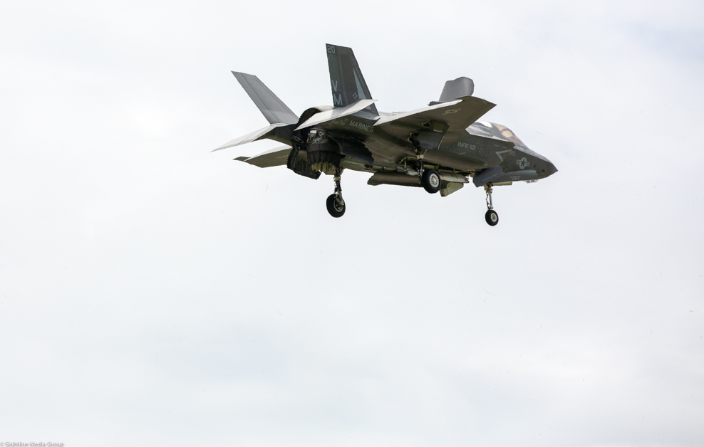 A USMC F-35B makes a vertical landing at MCAS Beaufort in South Carolina after a training flight. (Jeff Martin/Staff)