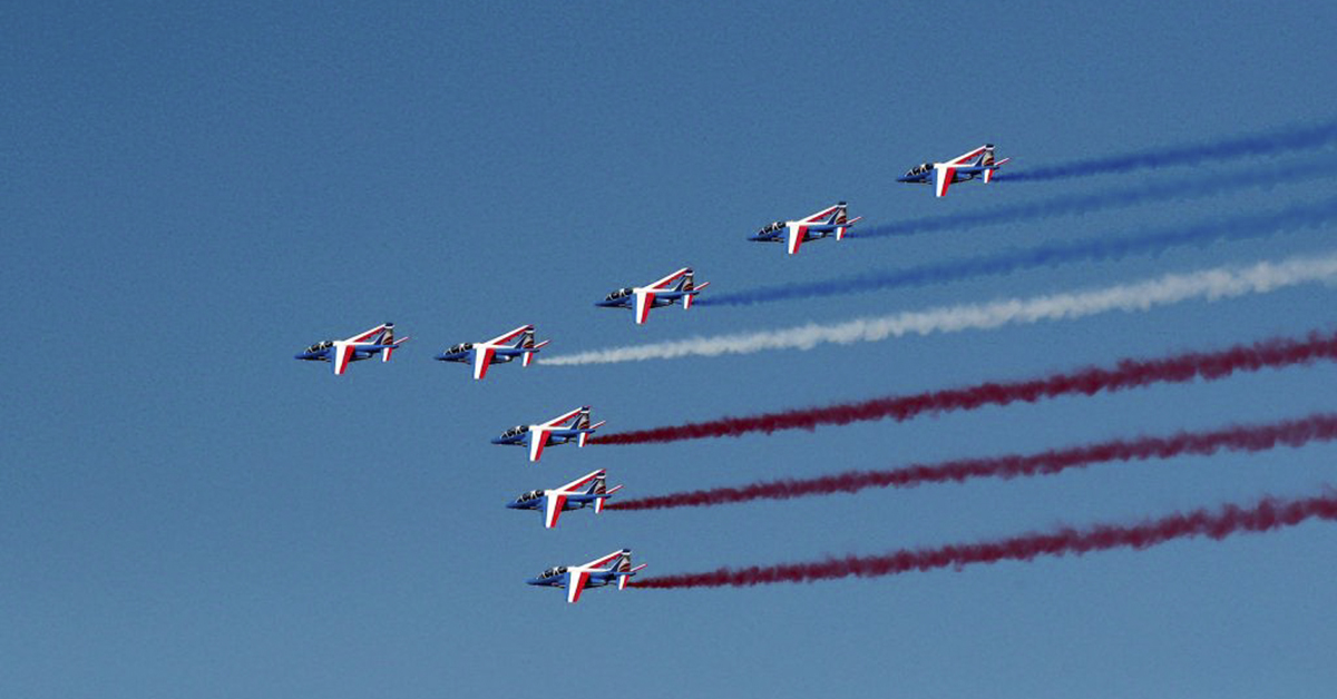 Jets from the French Patrouille de France fly during the inauguration of the 53rd Paris Air Show on June 17, 2019. (Benoit Tessier/AFP via Getty Images)