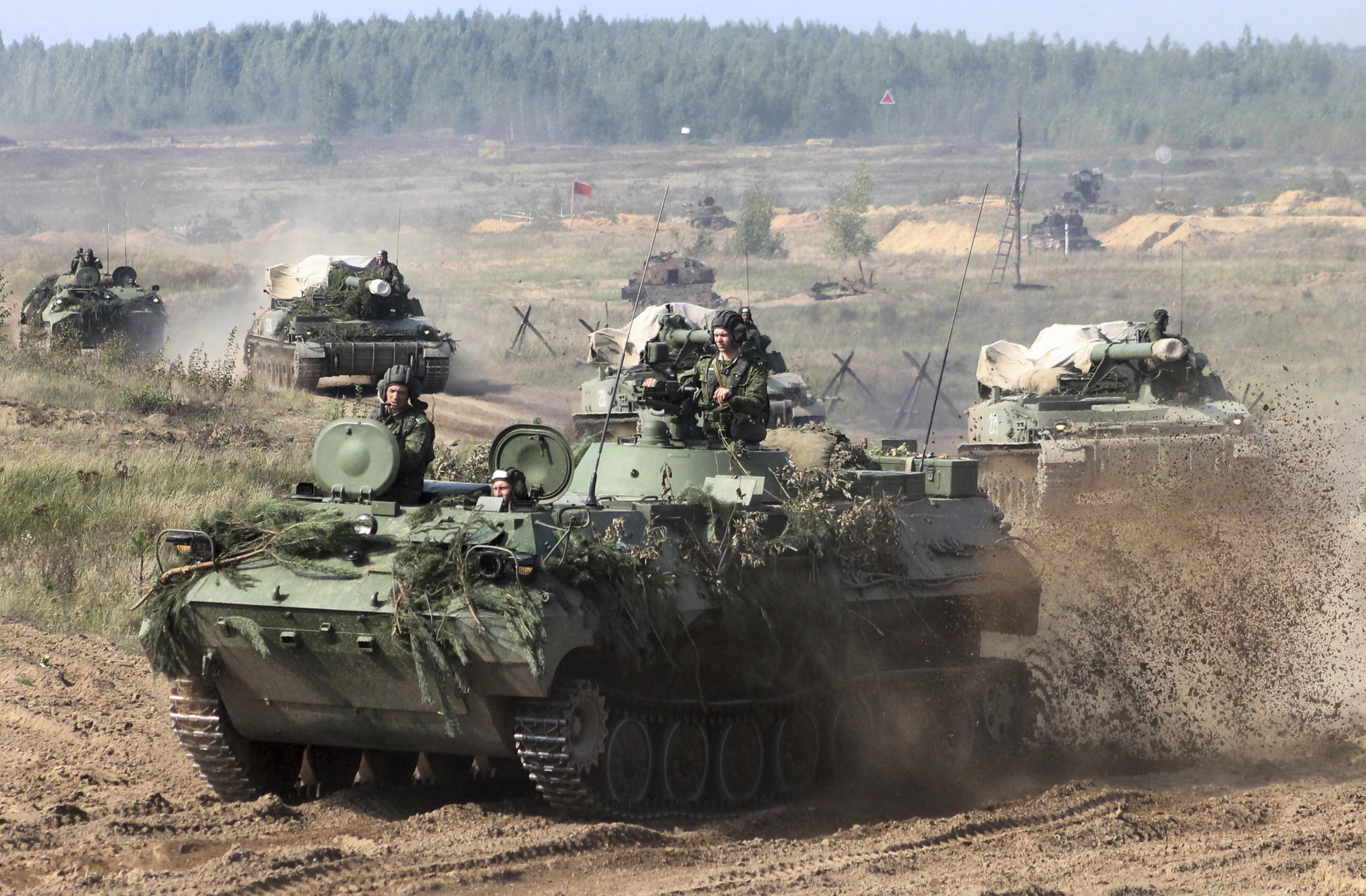 Belarusian army vehicles drive preparing for the Zapad war games. (Vayar Military Agency photo via AP)