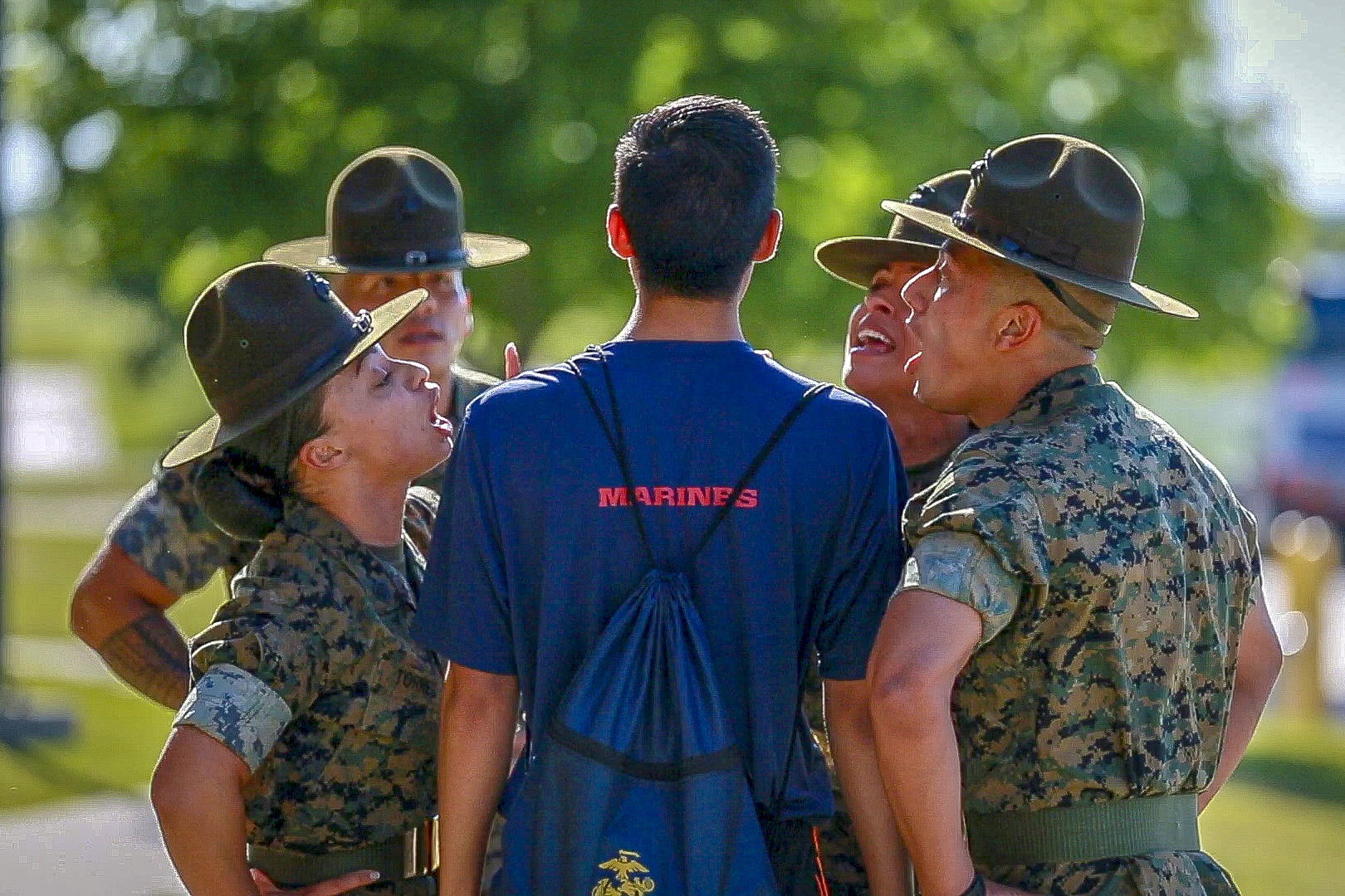 Future Marines from Marine Corps Recruiting Station Fort Worth got a taste of what Recruit Training will be like during the station's Annual Pool Function, April 27-28, 2019. (Sgt. Danielle Rodrigues/Marines)