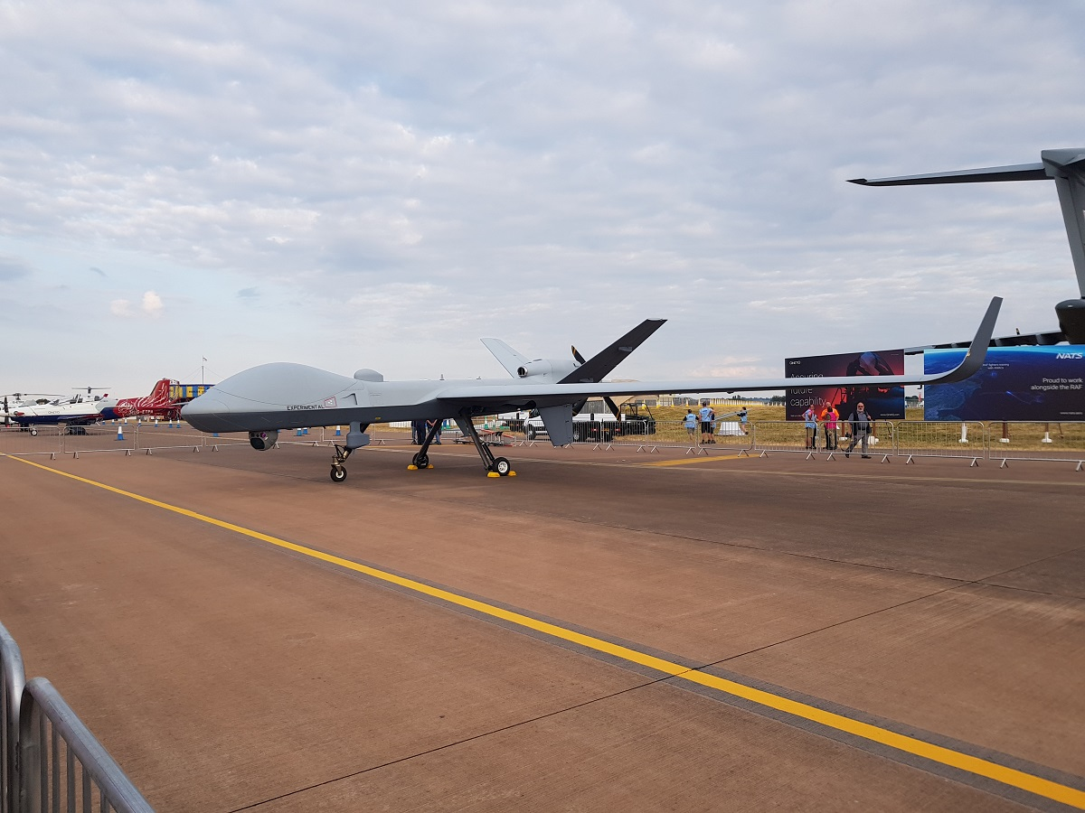 General Atomics Aeronautical Systems' developmental MQ−9B SkyGuardian made the first ever transatlantic flight of a medium-altitude, long endurance aerial drone. (Beth Stevenson/Staff)