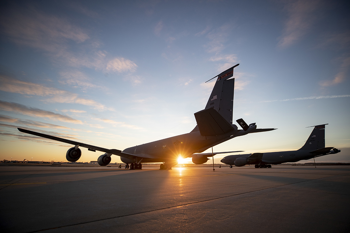 KC-135R Stratotanker refueling aircraft from the New Jersey Air National Guard's 108th Wing sit on the flight line during sunrise on Joint Base McGuire-Dix-Lakehurst, N.J., Dec. 8, 2018. (Master Sgt. Matt Hecht/Air National Guard)