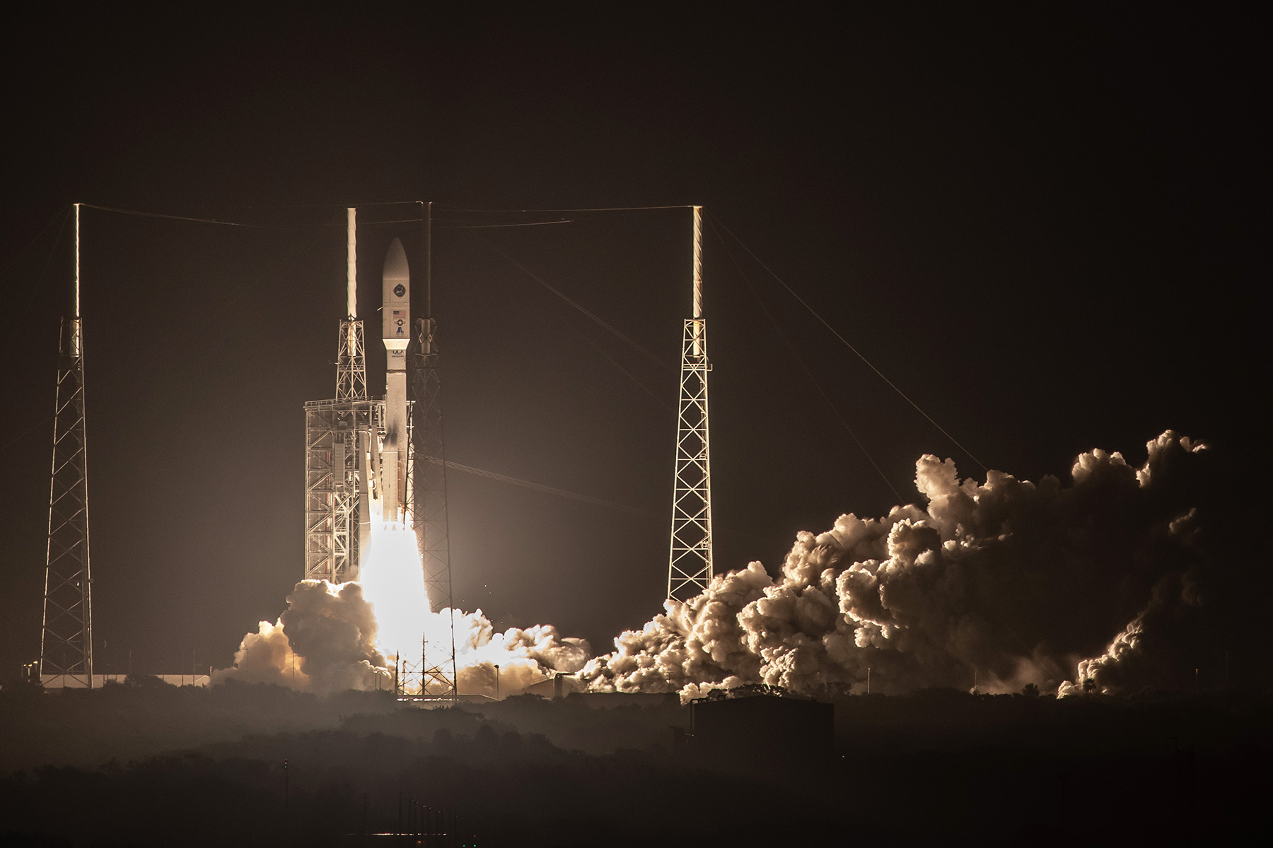 An Atlas V rocket launches a satellite for the U.S. Air Force from Cape Canaveral Air Force Station in Florida in the early morning hours of Oct. 17. President Trump plans to sign an executive order to create a U.S. Space Command. (United Launch Alliance)