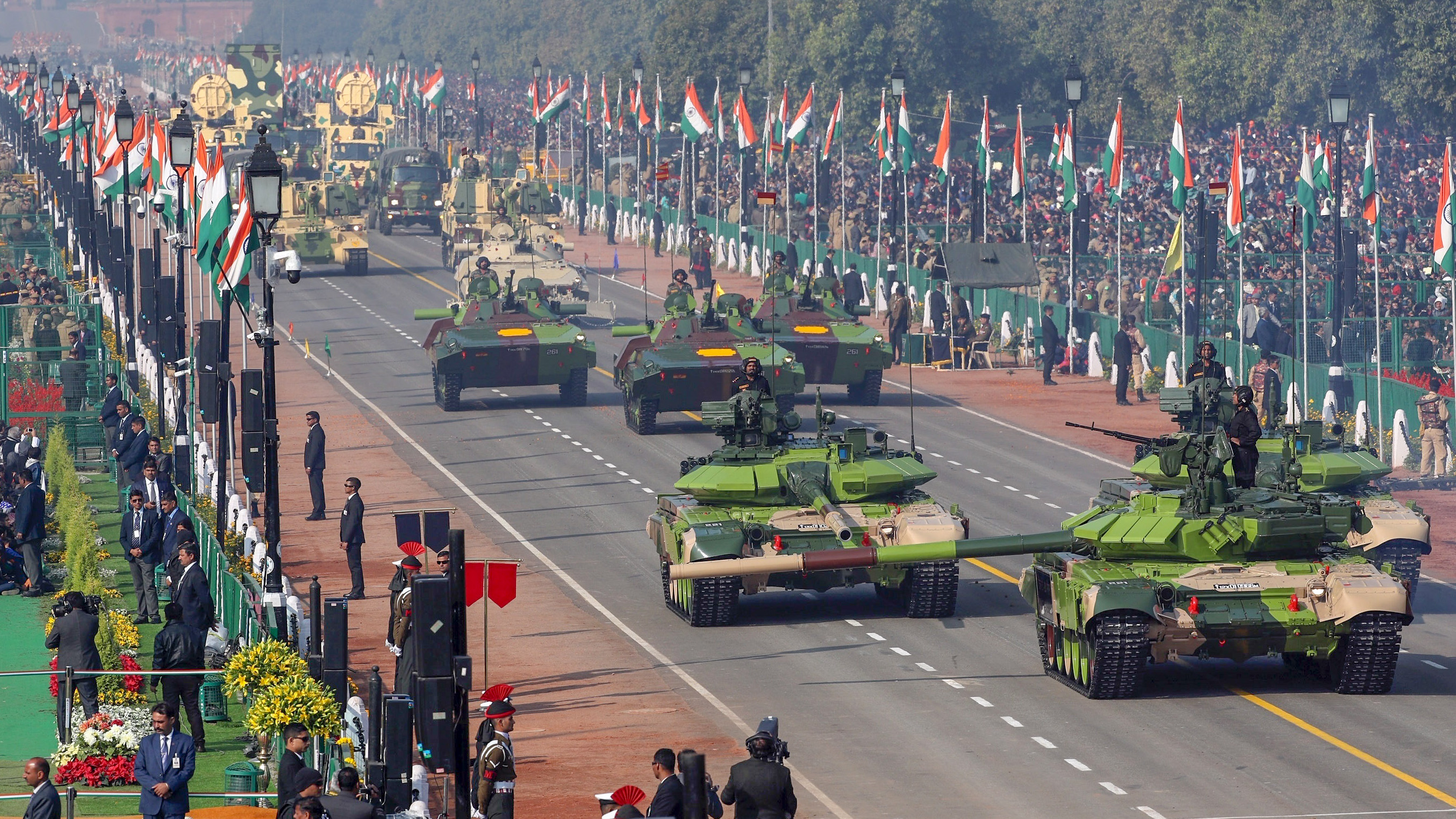 Indian army tanks and other military equipment roll past Rajpath, the ceremonial boulevard, during Republic Day parade in New Delhi, India, Saturday, Jan. 26, 2019. India marks Republic Day on Jan. 26 with military parades across the country. (AP Photo/Manish Swarup)