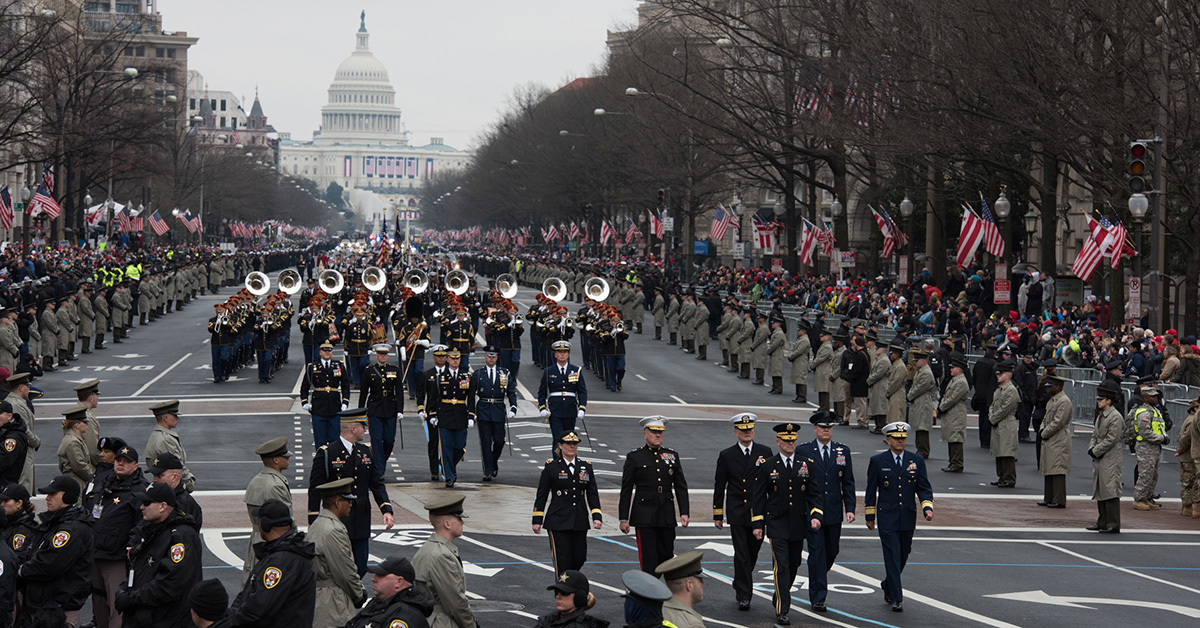 U.S. service members march down Pennsylvania Avenue during the presidential inaugural parade in Washington on Jan. 20, 2017. (Sgt. George Huley/Army)