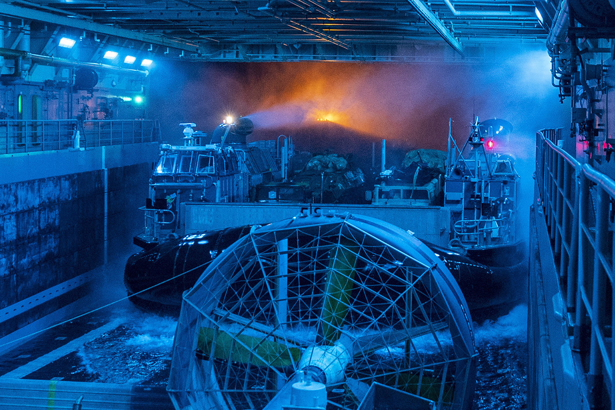 A landing craft, air cushion enters the well deck of the San Antonio-class amphibious transport dock ship USS John P. Murtha (LPD 26) on May 28, 2019, in the Pacific Ocean. (Mass Communication Specialist 2nd Class Kyle Carlstrom/Navy)