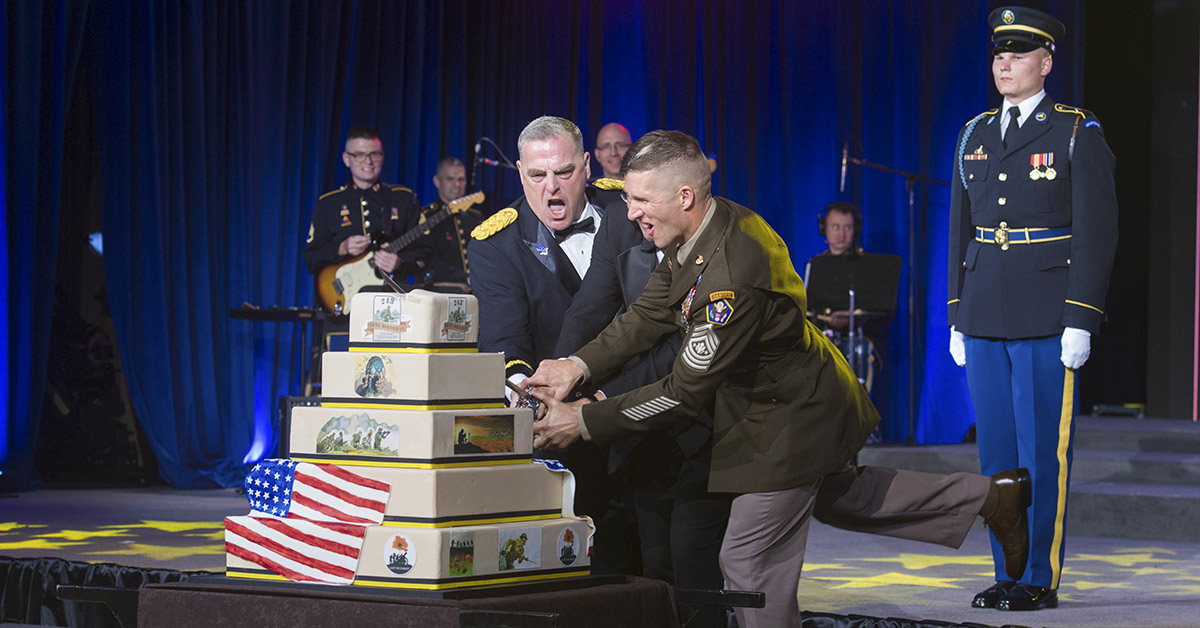 Chief of Staff of the U.S. Army Gen. Mark A. Milley, Secretary of the Army Dr. Mark T. Esper, and Sgt. Maj. of the U.S. Army Daniel A. Dailey cut the Army birthday cake during the 243rd Army Birthday Ball at the Washington Hilton Hotel in Washington, D.C., June 16, 2018. (Zane Ecklund/Army)