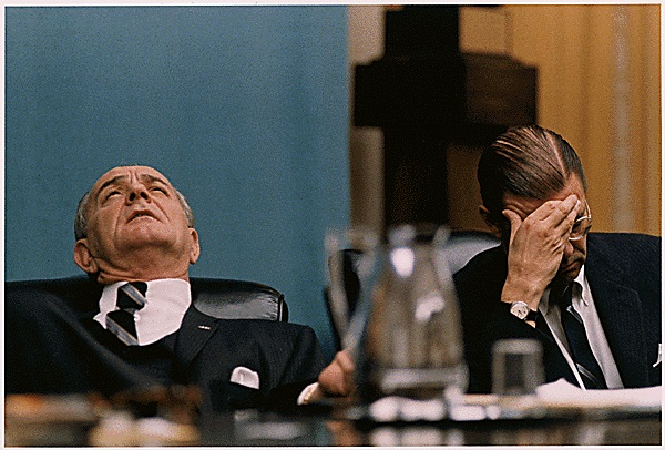 The Johnson administration began to question its strategy in Vietnam after a series of surprisingly fierce and well-coordinated attacks by Communist troops during the Tet Offensive, which launched in late January 1968. Here, Johnson and Defense Secretary Robert McNamara react during a Feb. 7, 1968, cabinet meeting. (National Archives/LBJ Library)