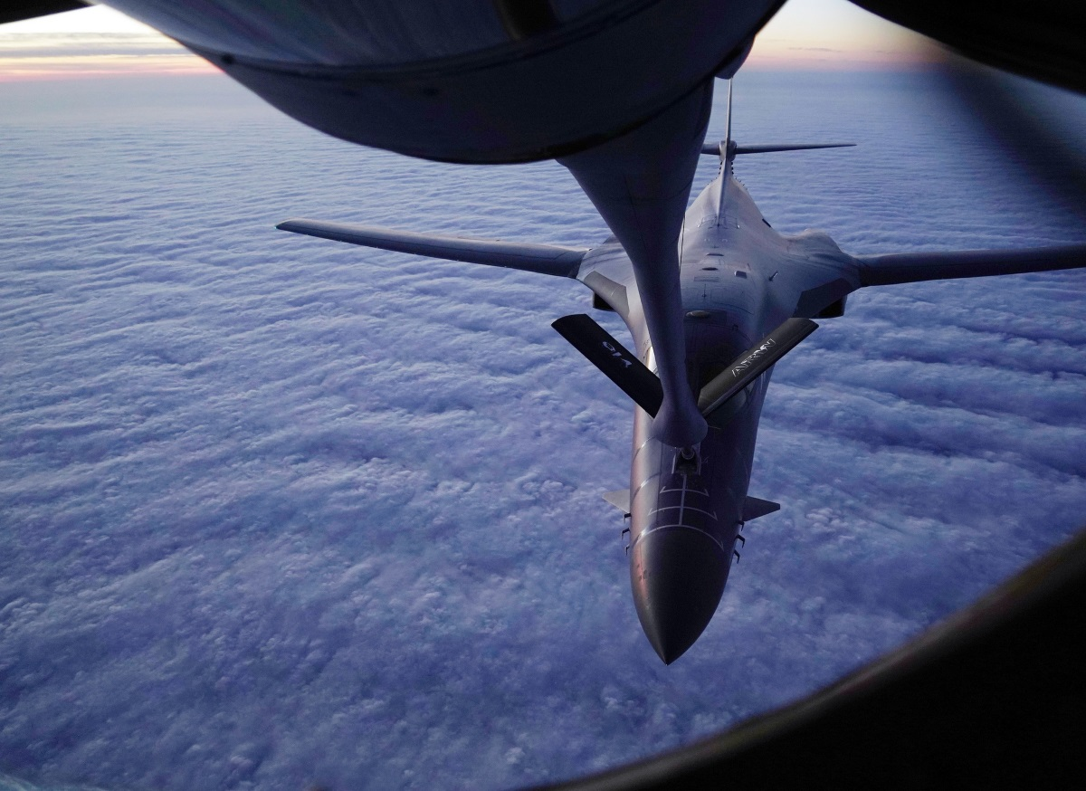 A B-1B Lancer and a KC-135 Stratotanker conduct aerial refueling over the continental United States on Dec. 10, 2018. (Staff Sgt. Joshua Williams/Air Force)