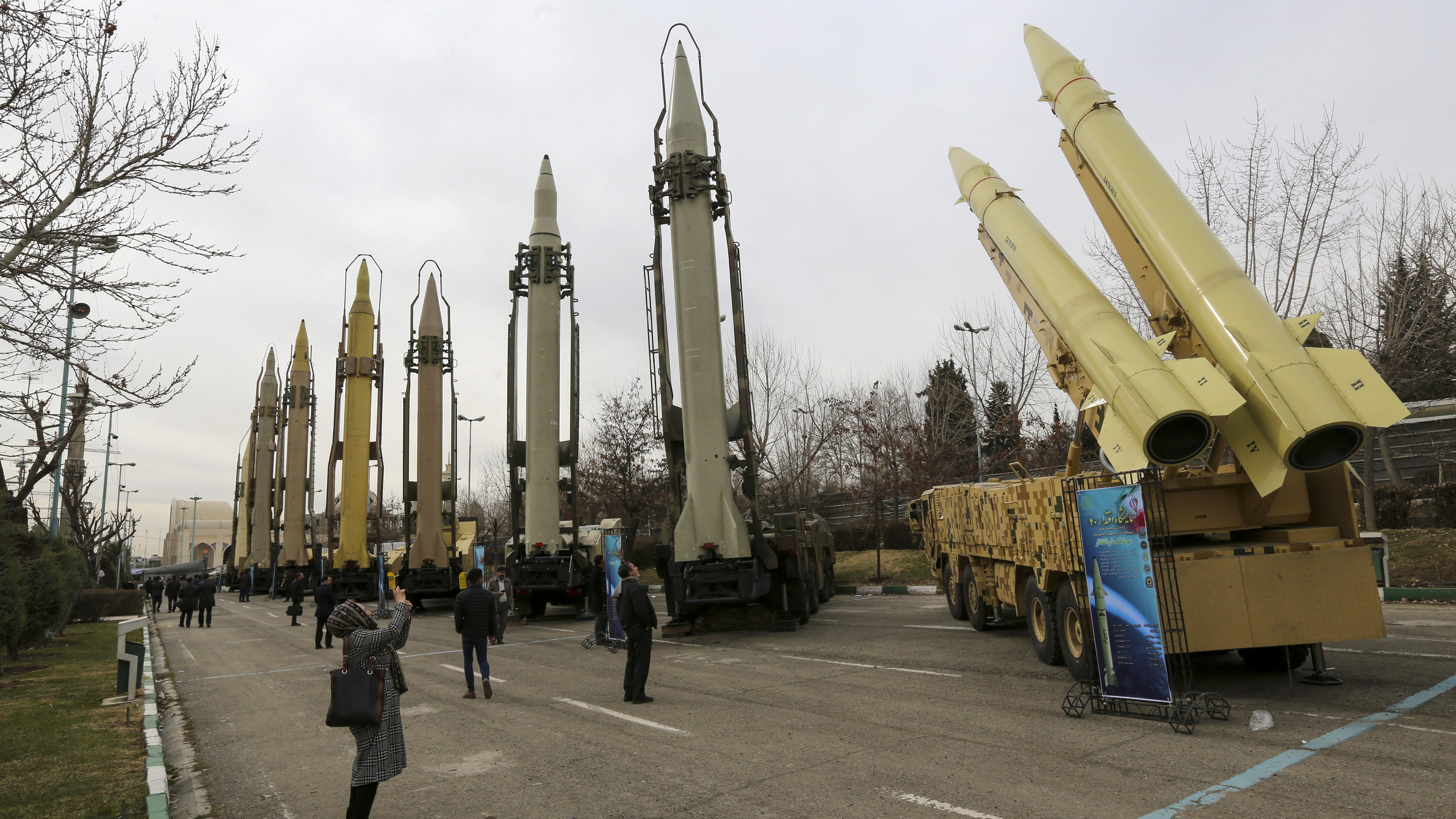 Iranians visit a weaponry and military equipment exhibition in the capital Tehran on February 2, 2019, organized on the occasion of the 40th anniversary of the Iranian revolution. - Iran announced the successful test of a new cruise missile with a range of over 1,350 kilometers on today, state TV reported. (ATTA KENARE/AFP/Getty Images)