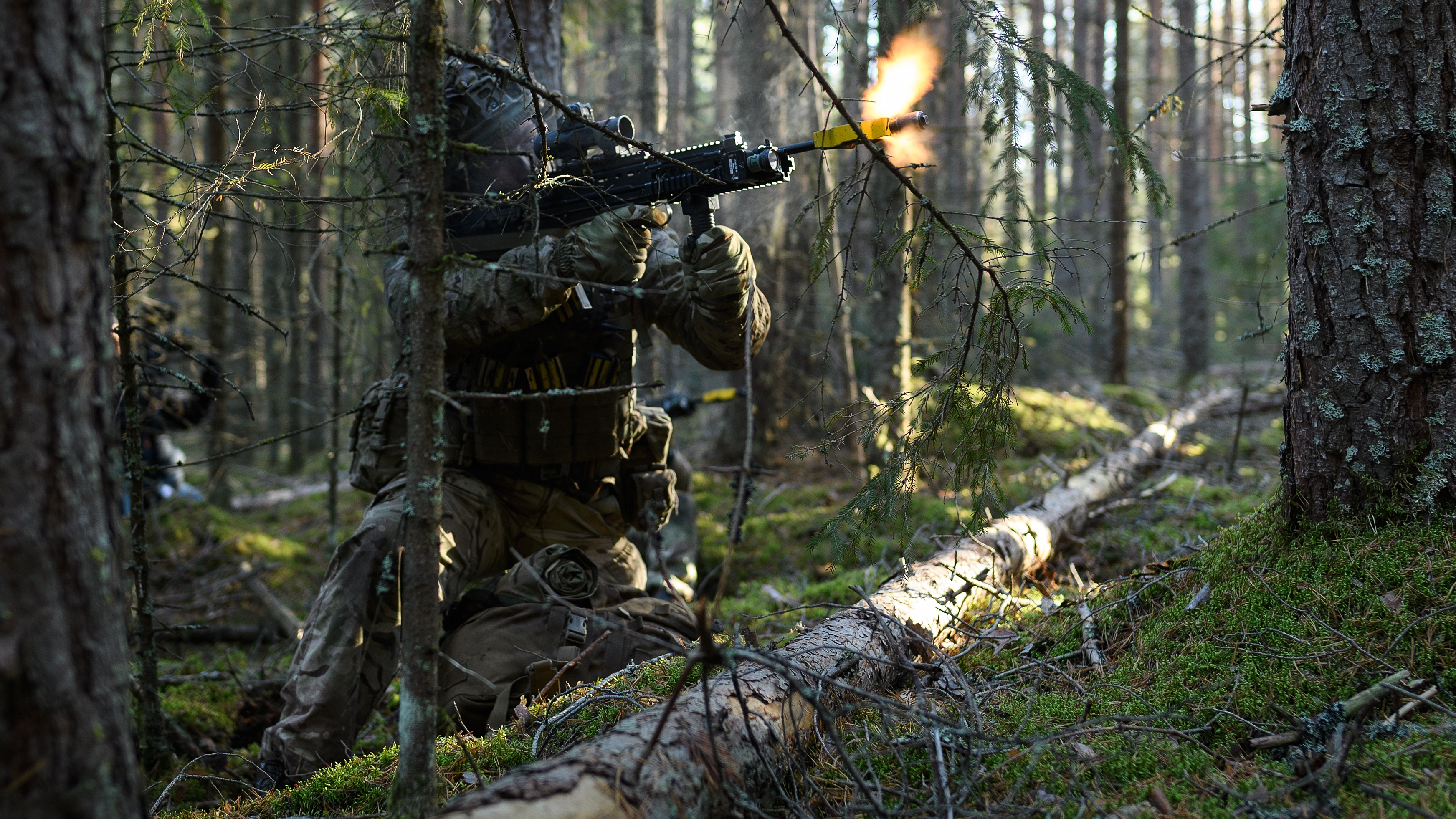 A British soldier from Anzio Company of the Duke of Lancaster Regiment takes part in FIWAF (fighting in woods and forests) training during pre-exercise integration training on October 26, 2018 in Haslemoen, Norway. Over 40,000 participants from 31 nations will take part in the NATO
