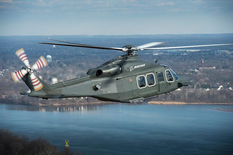 An MH-139 takes flight. In Sept. 2018, the aircraft was the winner of a competition to replace the Air Force's UH-1N Hueys. (Courtesy: Boeing)