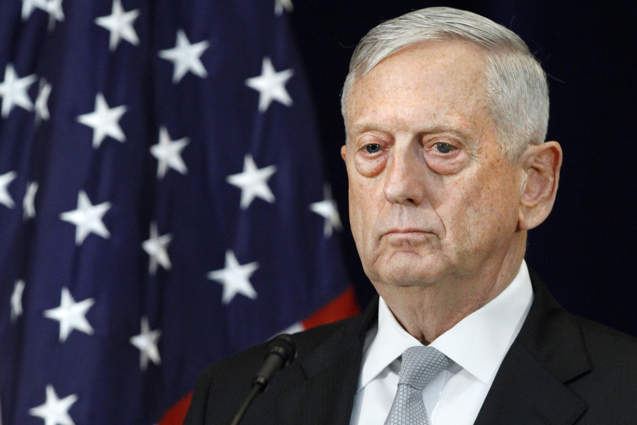 Defense Secretary James Mattis attends a news conference, Thursday, Aug. 17, 2017, at the State Department in Washington. (Jacquelyn Martin/AP)
