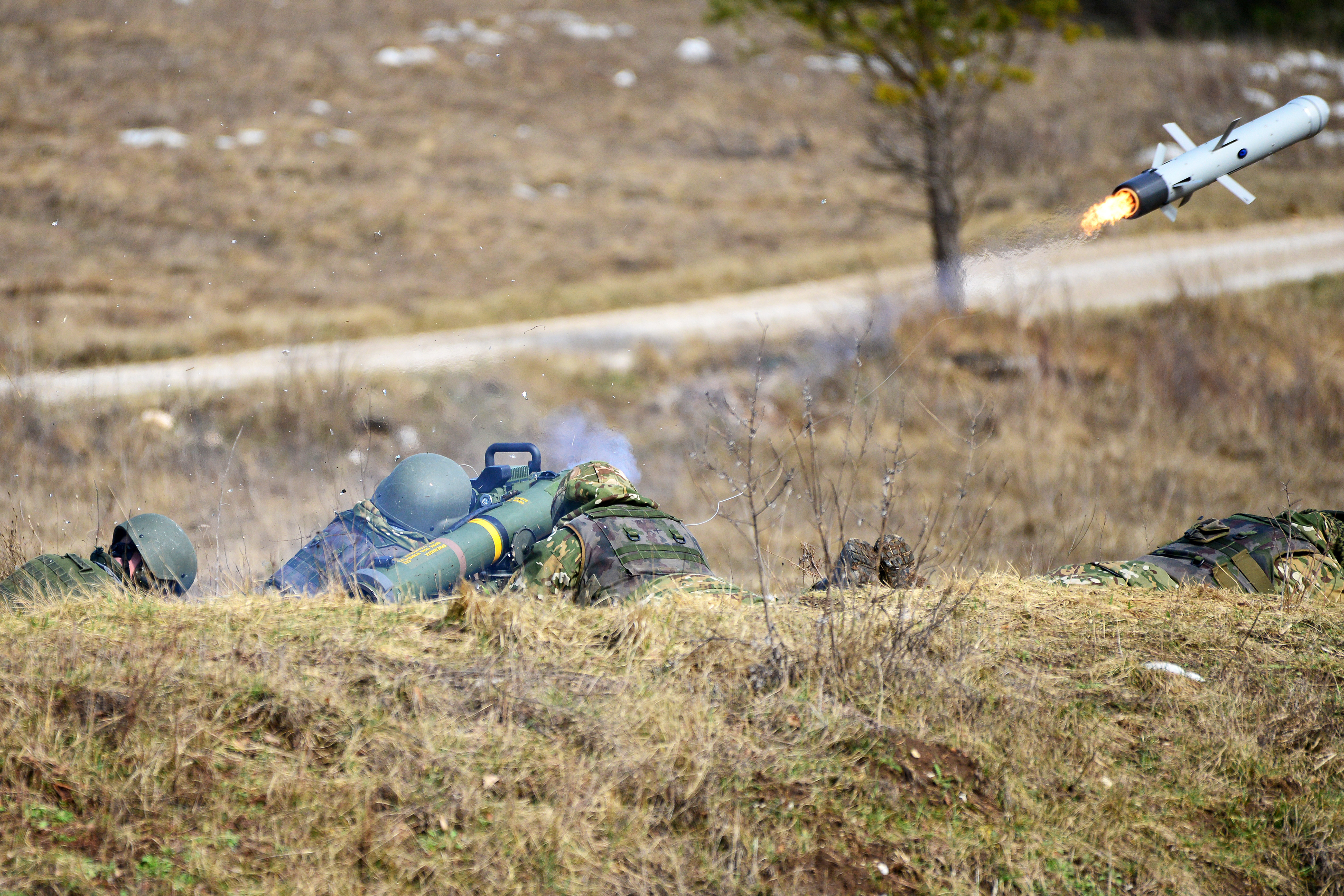 Slovenian soldiers engage targets with a Spike long-range anti-tank guidance missile during a live-fire exercise. (Visual Information Specialist Davide Dalla Massara/U.S. Army)