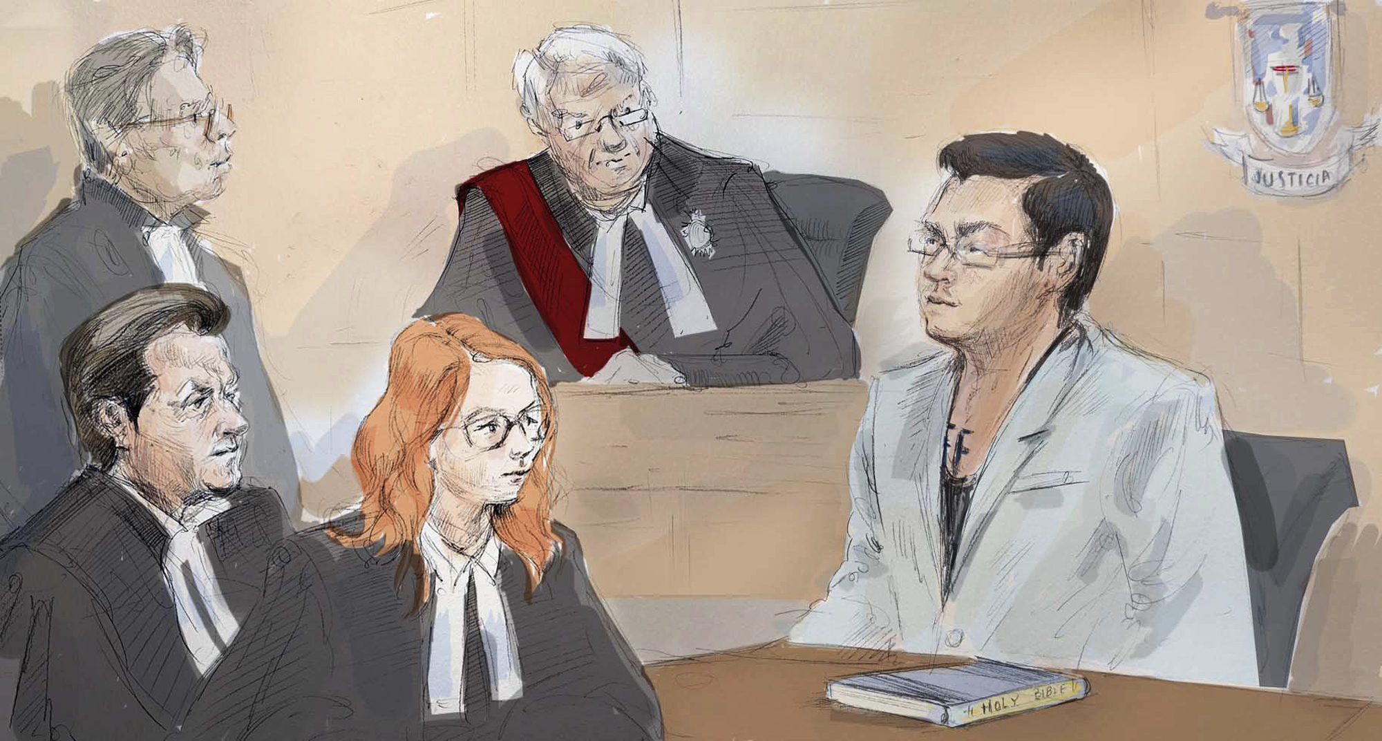 FILE - In this Wednesday, April 5, 2017, file courtroom sketch, Karim Baratov, right, addresses the court as his lawyer Amedeo Dicarlo, bottom left, Crown Heather Graham, second from left, lawyer Deepak Paradkar, top left, and Justice Alan Whitten look on during Baratov's bail hearing in Hamilton, Ontario, Canada. Baratov, accused in a massive hack of Yahoo emails, agreed Friday, Aug. 18, 2017, to forgo his extradition hearing and go face the charges in the United States. (Alexandra Newbould/Courtesy of The Canadian Press via AP, File)