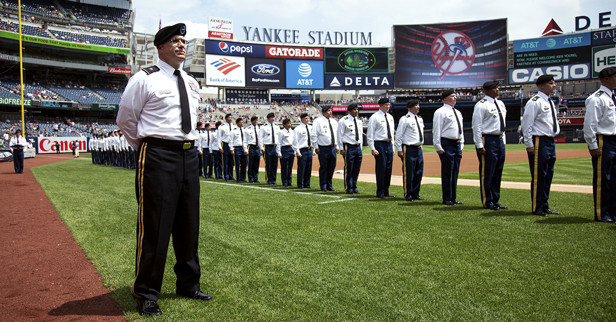 Brigadier General John P. Lawlor Jr. at the Mass Reenlistment held by the 1st Battalion Army Reserve Career Division, July 28, 2018 at the Yankee Stadium, New York City, NY. (Spc. Daniel Bendjy/Army)