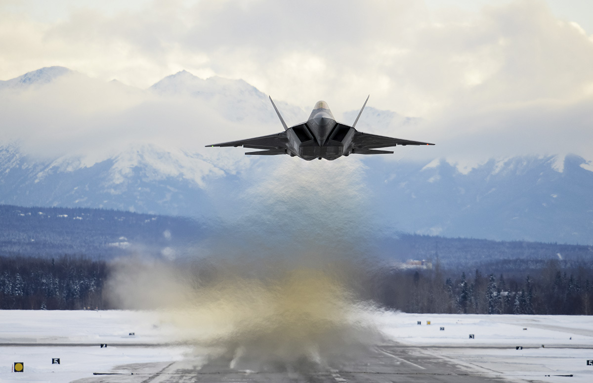 An Air Force F-22 Raptor assigned to the 3rd Wing flies over Joint Base Elmendorf-Richardson, Alaska, Feb. 27, 2018. The F-22 Raptor is the U.S. Air Force's premium fifth-generation fighter asset. ( Jamal Wilson/Air Force)