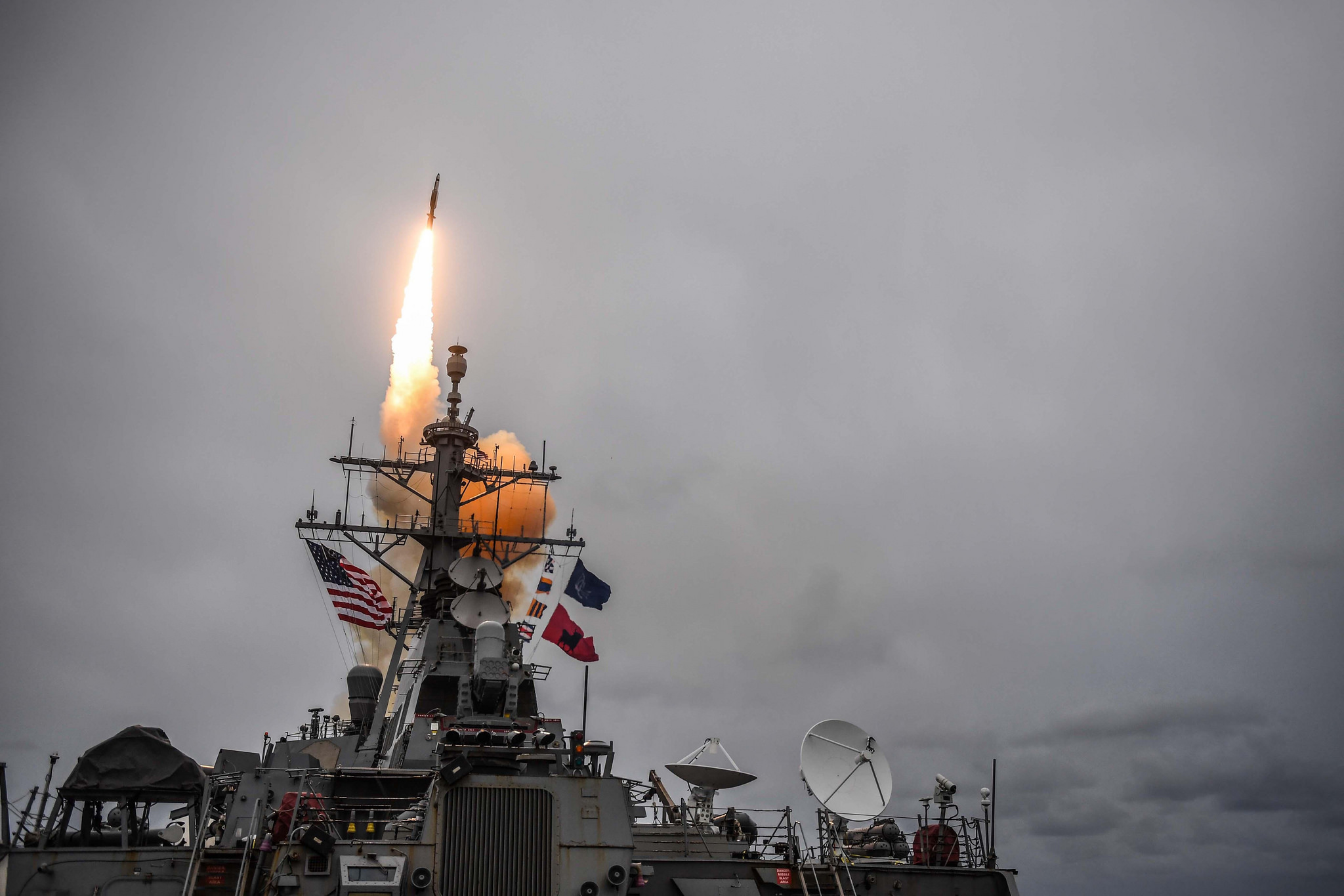 The Arleigh Burke-class guided-missile destroyer USS Donald Cook (DDG 75) fires a standard missile 3 during exercise Formidable Shield 2017. (Mass Communication Specialist 1st Class Theron J. Godbold)