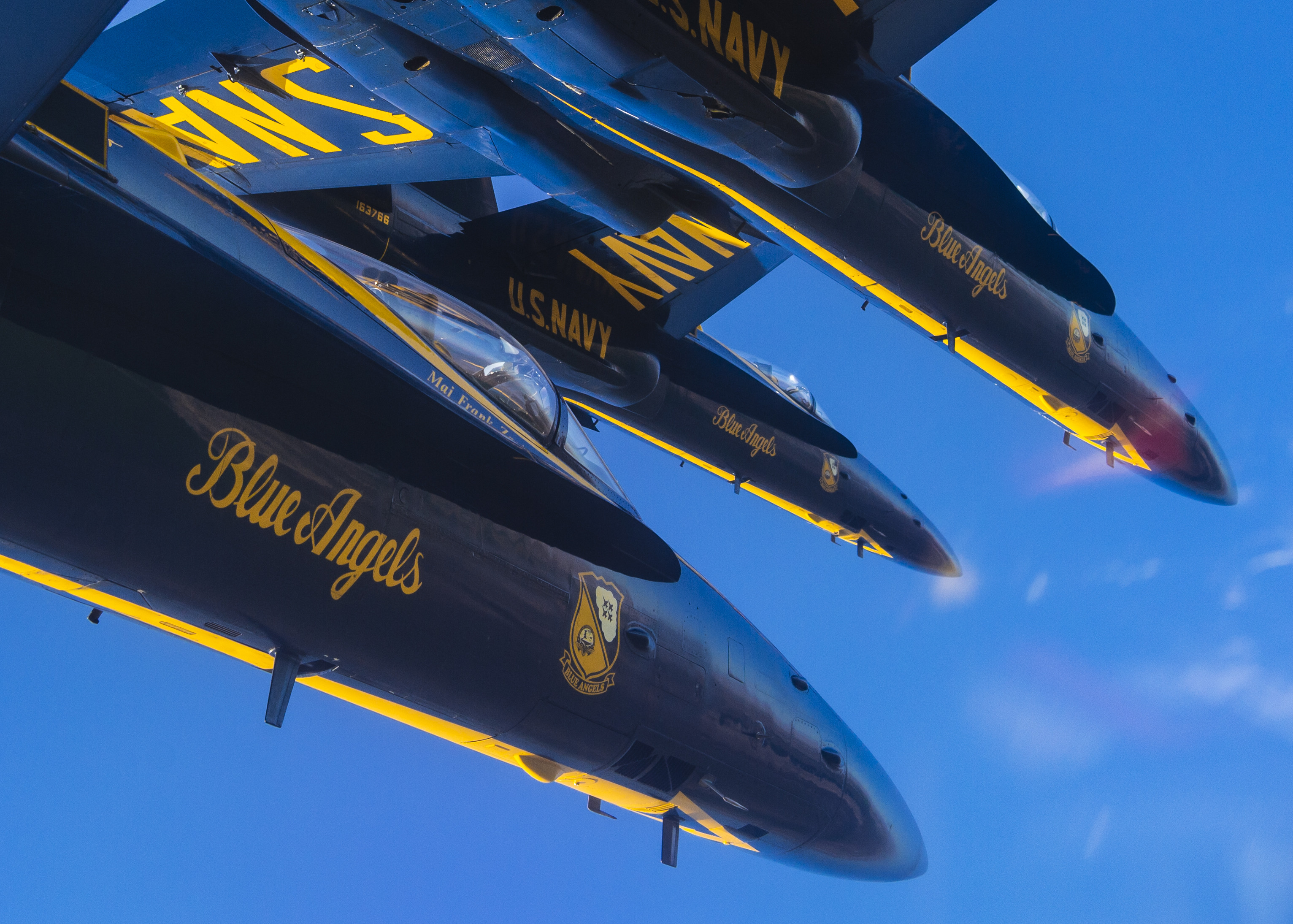 Pilots assigned to the U.S. Navy flight demonstration squadron, the Blue Angels, take part in a training flight at Naval Air Facility El Centro, Calif., on Feb. 14, 2020. (MC2 Cody Hendrix/Navy)