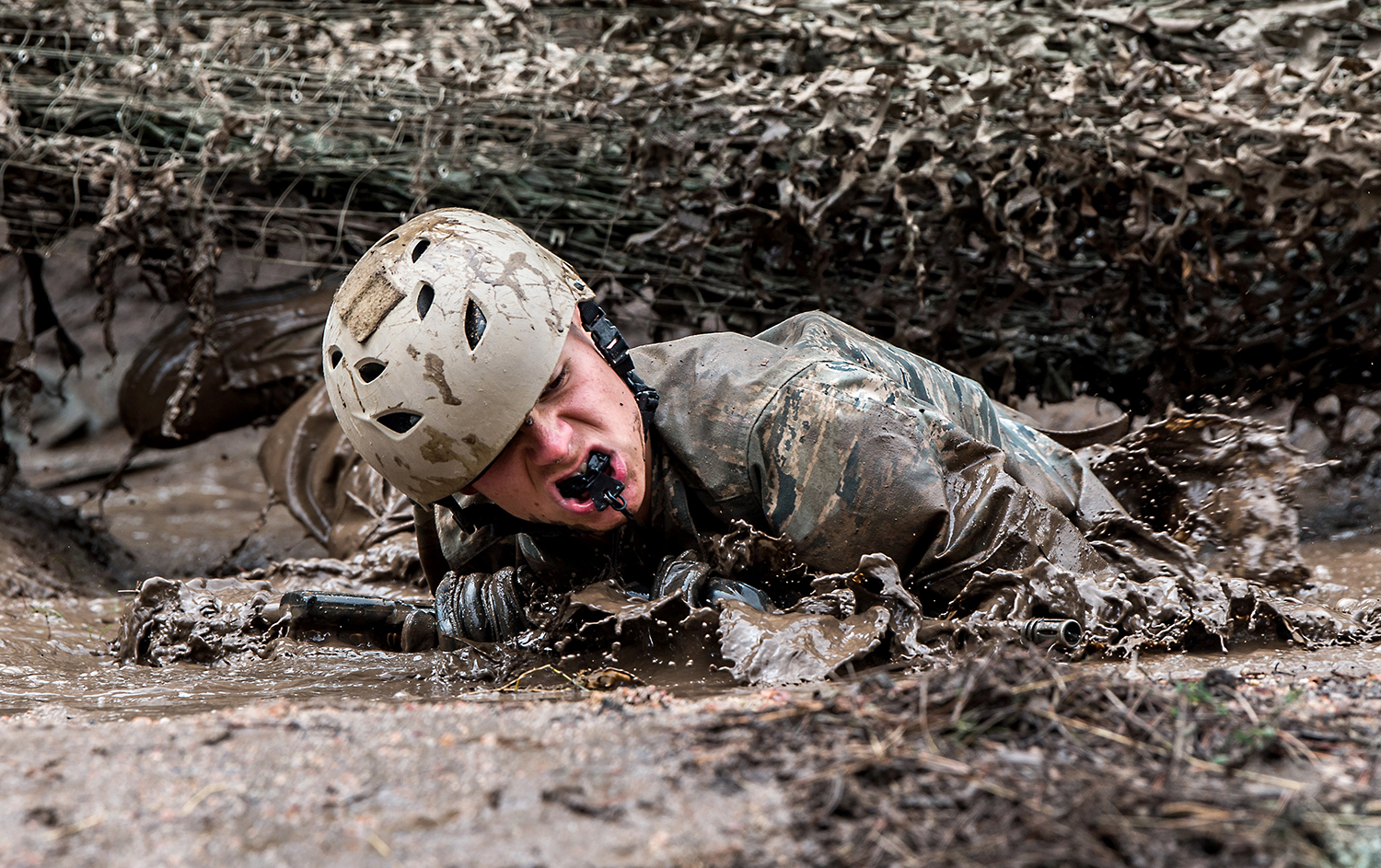 Air Force Academy class of 2023 basic cadets complete the assault course on July 22, 2019. (Trevor Cokley/Air Force)