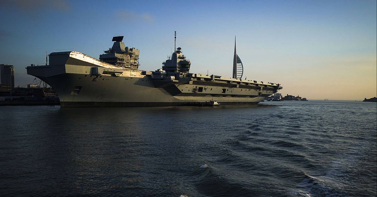 HMS Prince of Wales on December 30, 2019 in Portsmouth, England. HMS Prince of Wales and HMS Queen Elizabeth, the Royal Navy's latest aircraft carriers, are currently docked together in Portsmouth Harbour. The two aircraft carriers, which cost GBP 3.1 Billion each, are the largest and most advanced warships ever built for the navy and are expected to be in service for the next 50 years. (Photo by Peter Summers/Getty Images)
