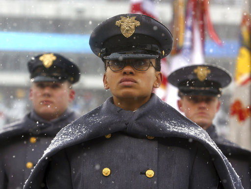 First Captain Simone Askew, the first black woman to lead the Corps of Cadets at West Point, stands in formation as she leads the U.S. Military Academy march-on prior to Saturday's Army-Navy game in Philadelphia. (Jacqueline Larma/AP)