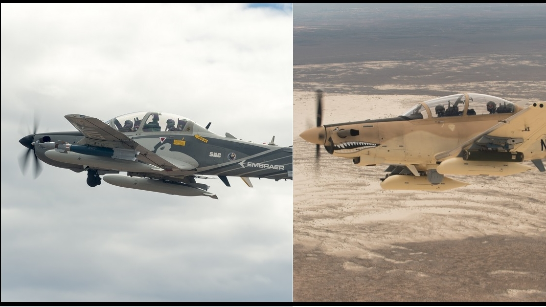 The Beechcraft AT-6B Wolverine, left, and the Embraer A-29 Super Tucano are the likely contenders for the Air Force's light attack aircraft competition. (Ethan Wagner/Air Force)