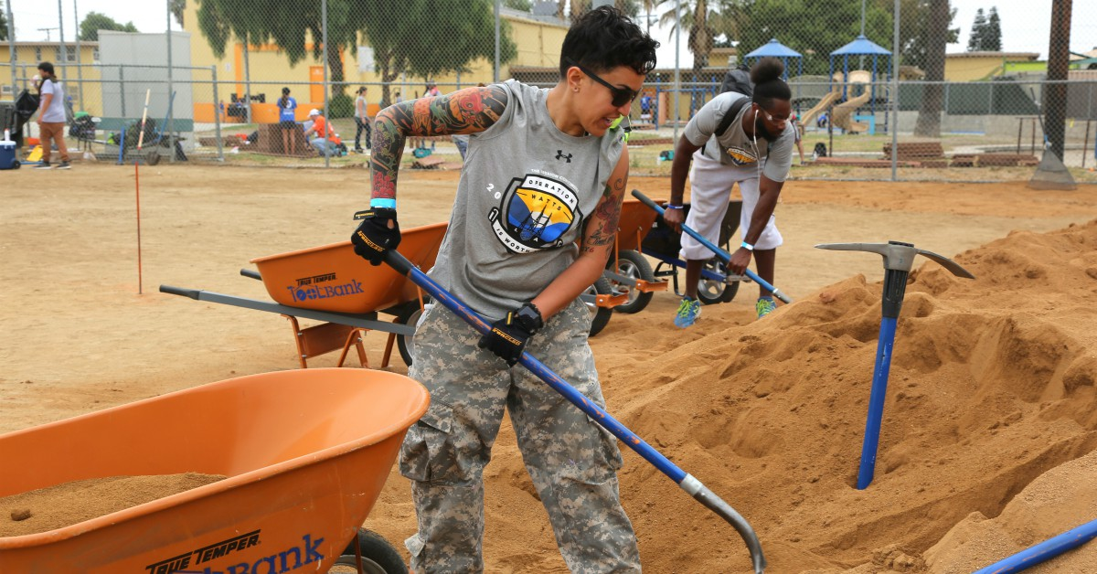 Veterans help renovate a softball field at a community housing development in Los Angeles' Watts community as part of Operation Watts Is Worth It, a service project sponsored by The Mission Continues. (Photo provided by The Mission Continues)