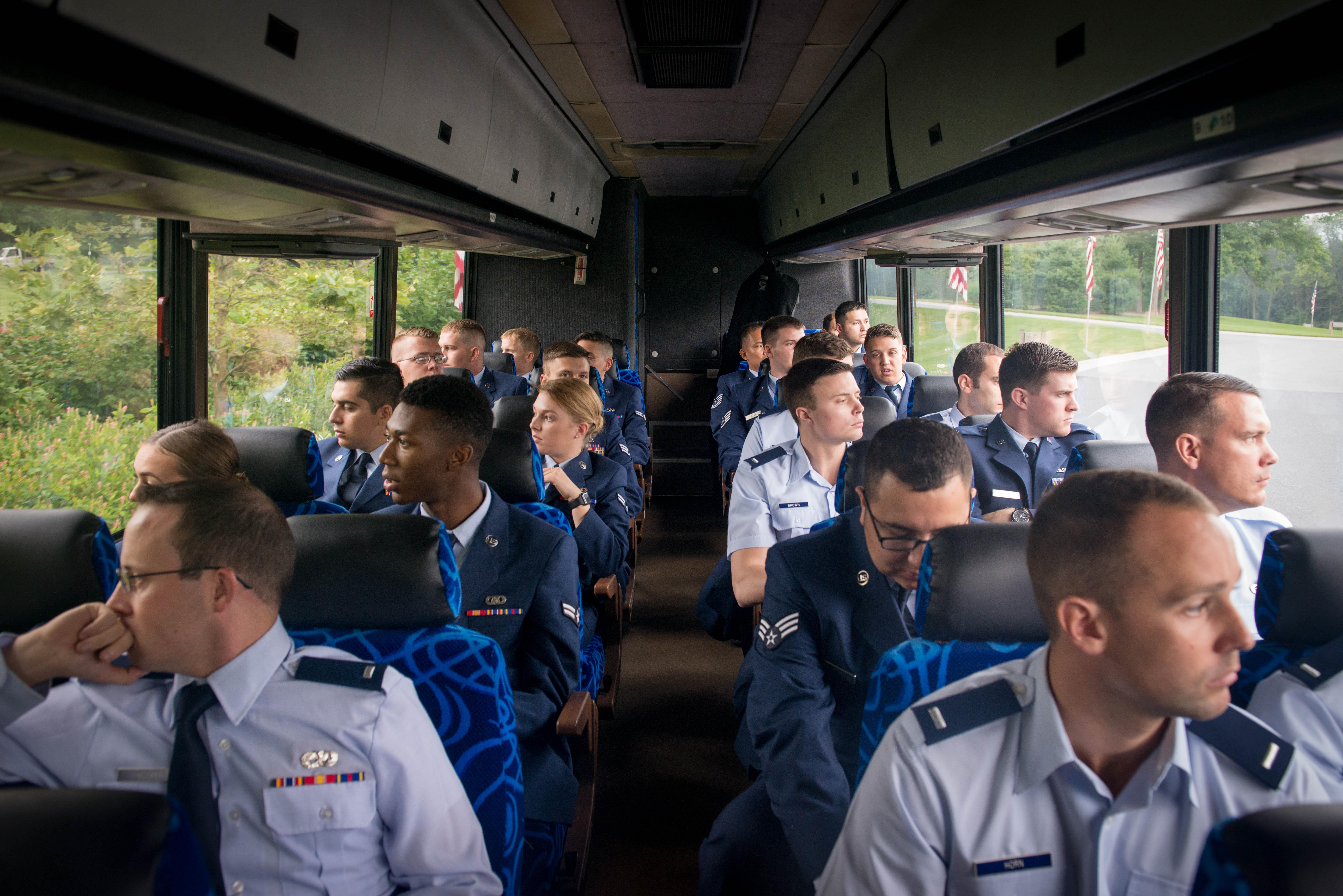 Airmen assigned to the 62nd Fighter Squadron at Luke Air Force Base, Ariz, travel to the Indiantown Gap National Cemetery in Annville Penn., Aug. 4, 2017. Approximately 50 Airmen traveled more than 2,000 miles on plane and bus to attend 2nd Lt. Charles E. Carlson's funeral. Carlson was a former 62nd FS, who died during World War II after being shot down. (Staff Sgt. Jensen Stidham/Air Force)