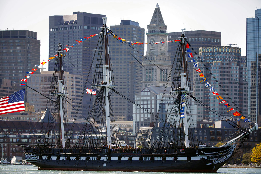The USS Constitution passes in front of the Boston skyline, Friday, Oct. 20, 2017, in Boston. The newly refurbished ship, nicknamed Old Ironsides, took its first spin since October 2014 to celebrate the 220th anniversary of the iconic vessel's maiden voyage. (Michael Dwyer/AP)