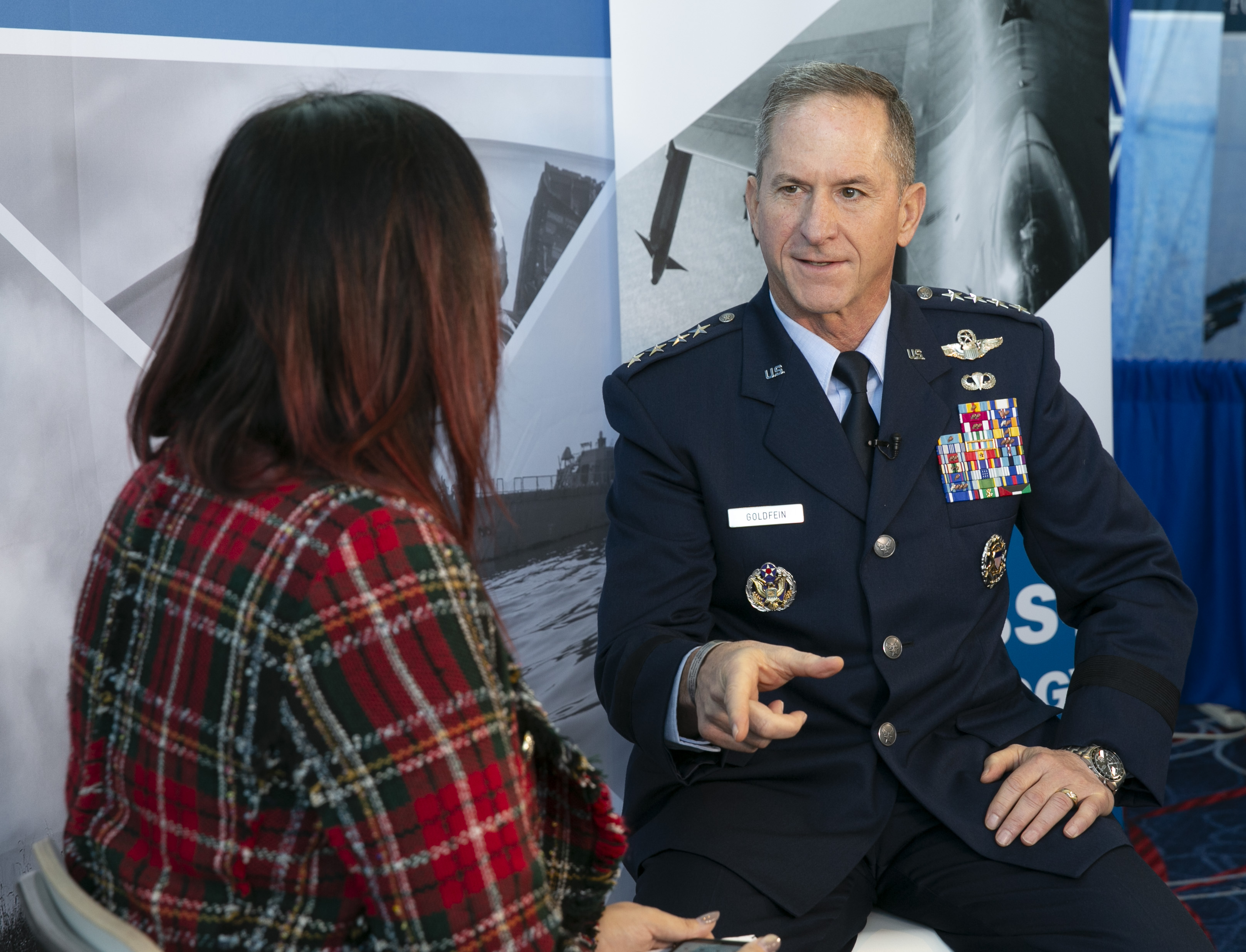 Air Force Chief of Staff Gen. David Goldfein is interviewed by Defense News reporter Valerie Insinna during the Air Force Association's Air, Space & Cyber conference held at the Gaylord National Resort & Conference Center in Oxon Hill, MD. (Alan Lessig/Staff)