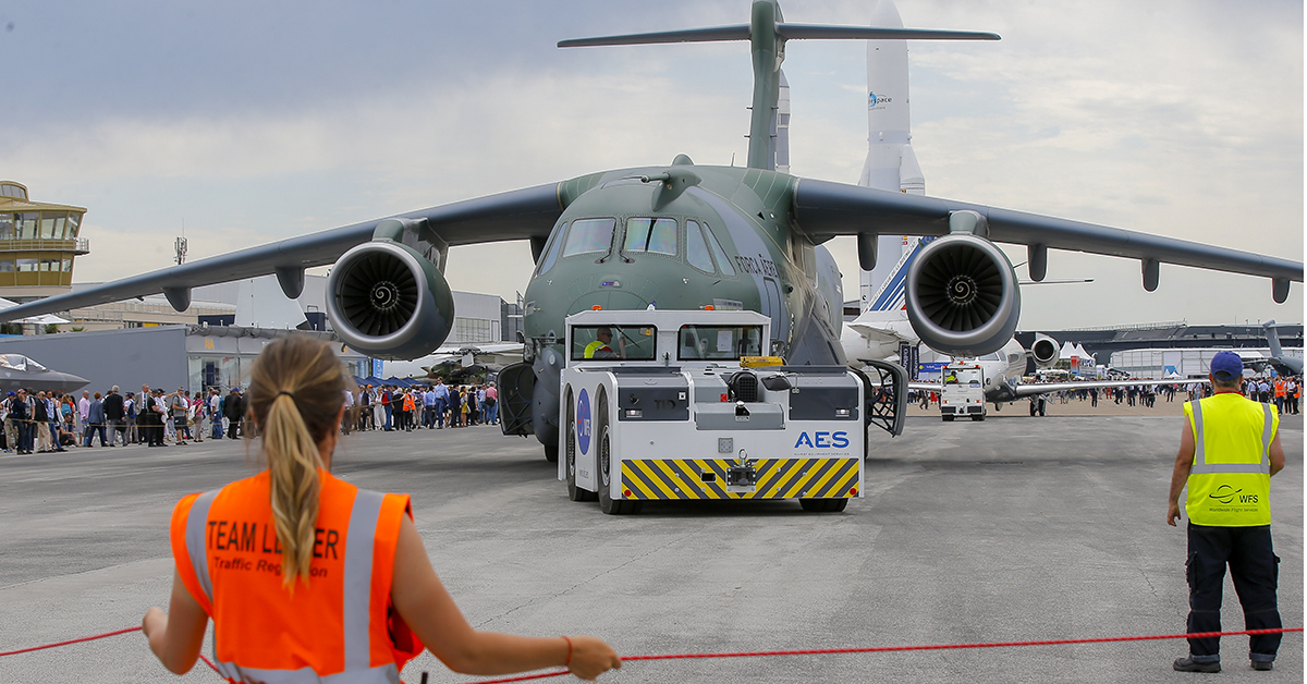 An Embraer KC-390 transport plane of the Brazilian Army rolls on the tarmac at the Paris Air Show on June 18, 2019. (Michel Euler/AP)