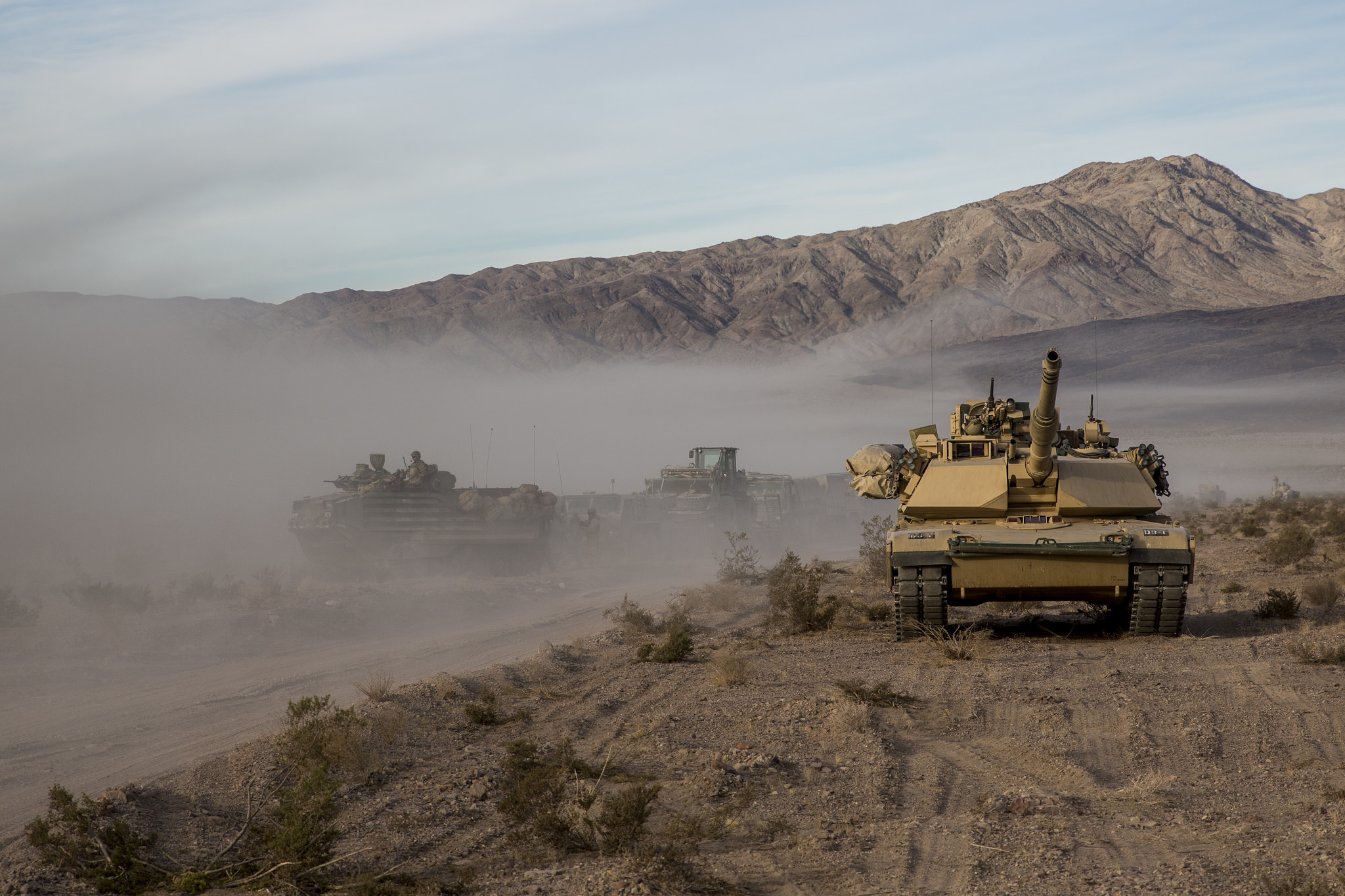 Marines with 3rd Battalion, 4th Marine Regiment, 1st Marine Division utilize an M1A1 Abrams tank during exercise Steel Knight (SK) 18 at Marine Corps Air Ground Combat Center Twentynine Palms, Calif. (Marine Corps)