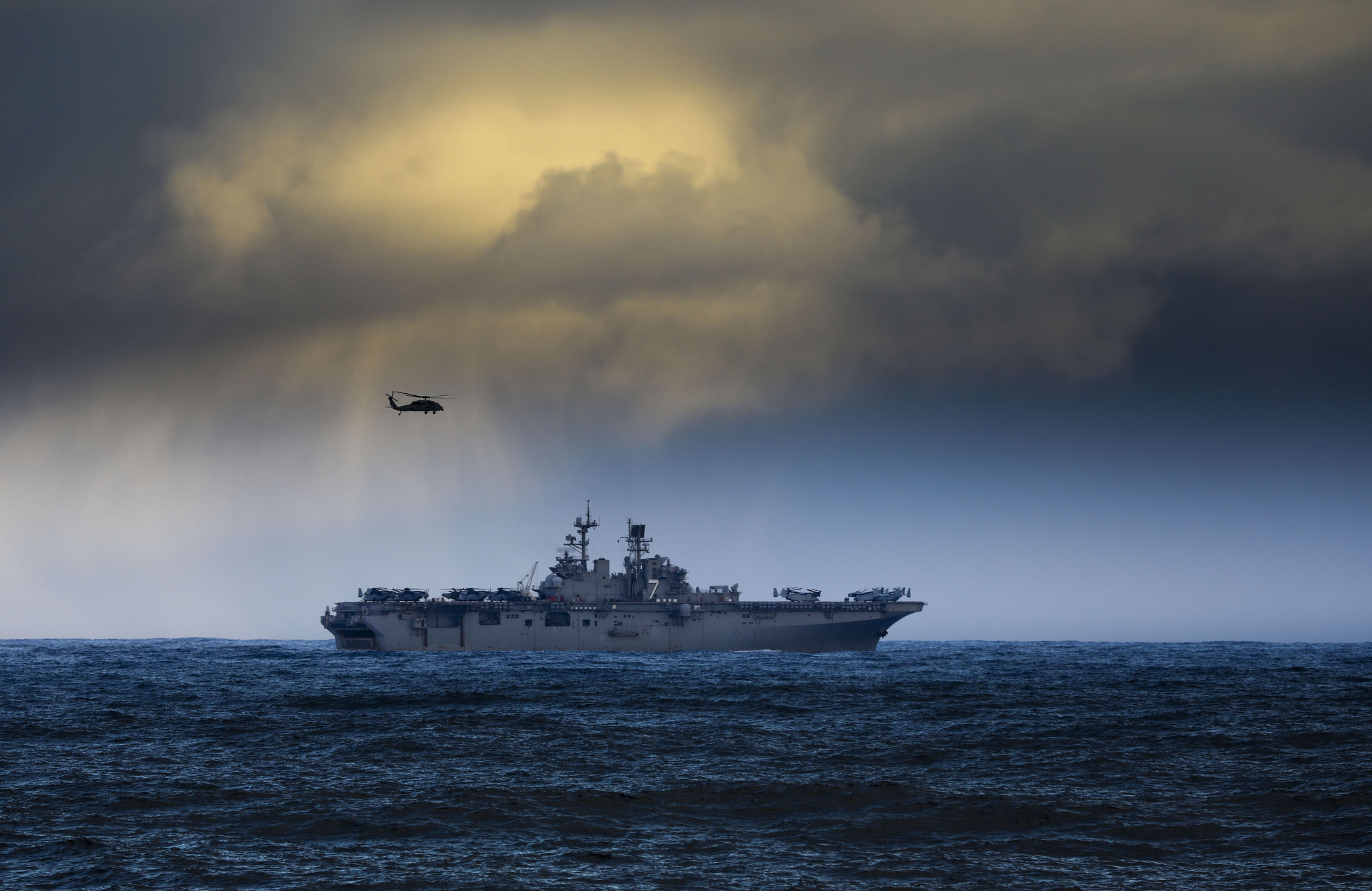 The U.S. Navy amphibious assault ship USS Iwo Jima, part of a NATO task force, sails near Iceland on Oct. 23, 2018, carrying elements of 45 Commando Royal Marines and U.S. Marines traveling to NATO exercise Trident Juncture 2018. (NATO)