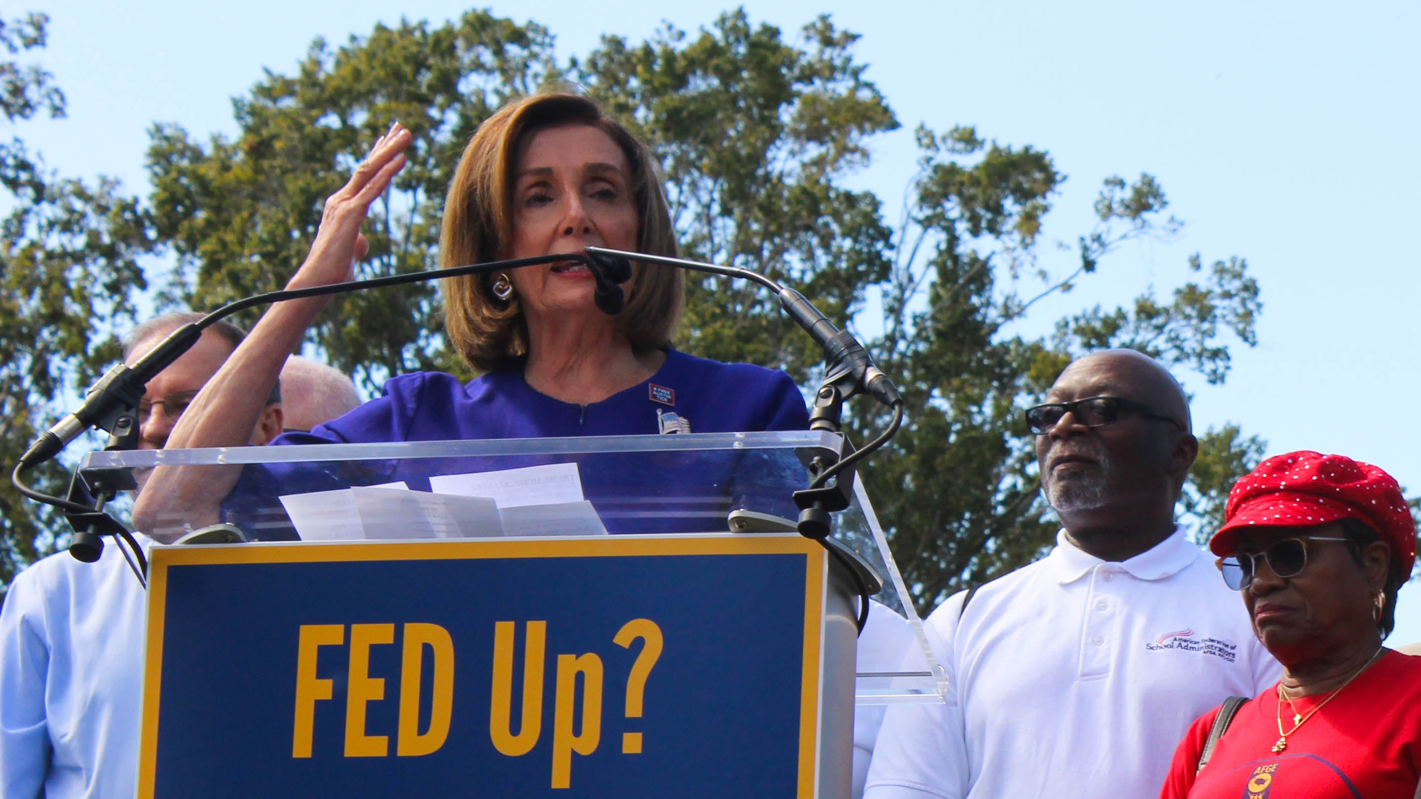 Rep. Nancy Pelosi, D-Calif, speaks to union protesters outside the U.S. Capitol building. (Jessie Bur/Staff)