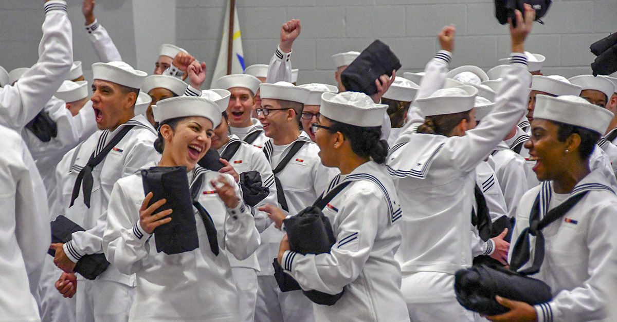 New Sailors celebrate after the completion of their pass-in-review ceremony at Recruit Training Command. About 38,000 to 40,000 recruits graduate annually from the Navy's only boot camp. (MC2 Spencer Fling/Navy)