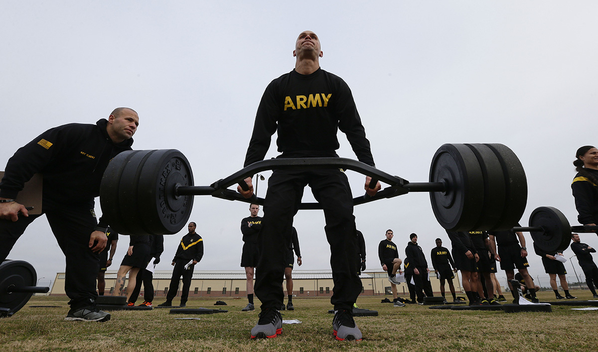 1st Lt. Mitchel Hess participates in a weight lifting drill while preparing to be an instructor in the new Army combat fitness test at Fort Bragg, N.C. (Gerry Broome/AP)