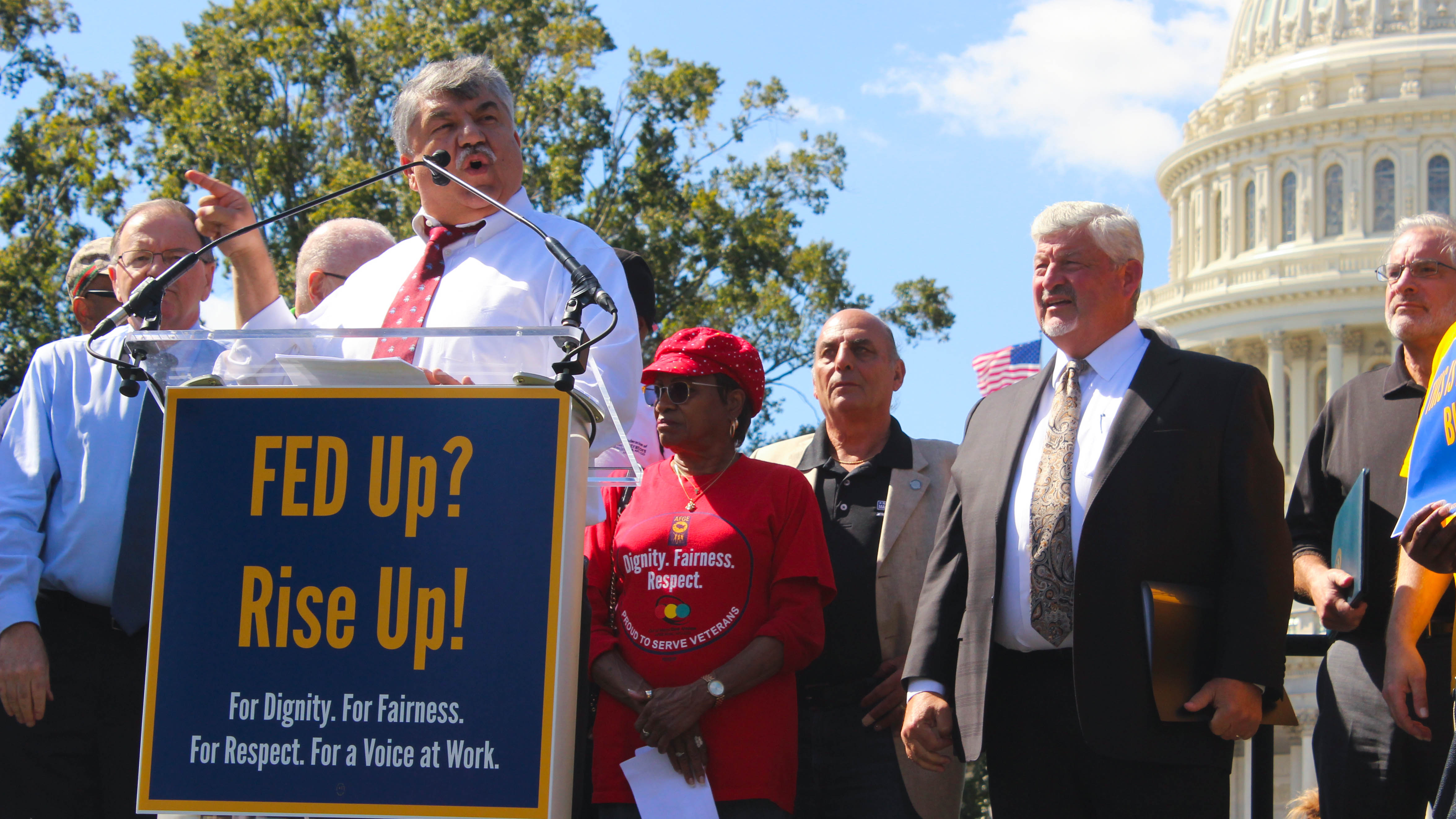 AFL-CIO President Richard Trumka speaks to union protesters outside the U.S. Capitol building. (Jessie Bur/Staff)