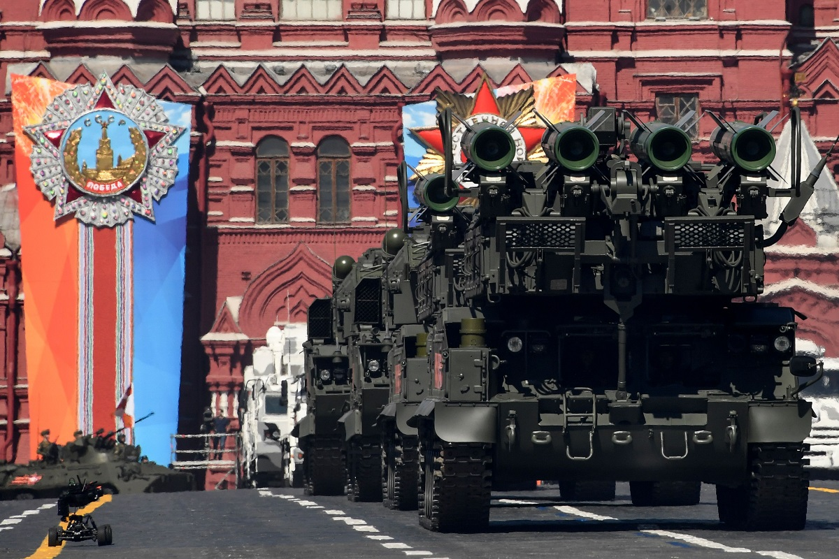Buk-M2 air-defense systems parade through Red Square during a military parade on May 9, 2018. (Kirill Kudryavtsev/AFP via Getty Images)
