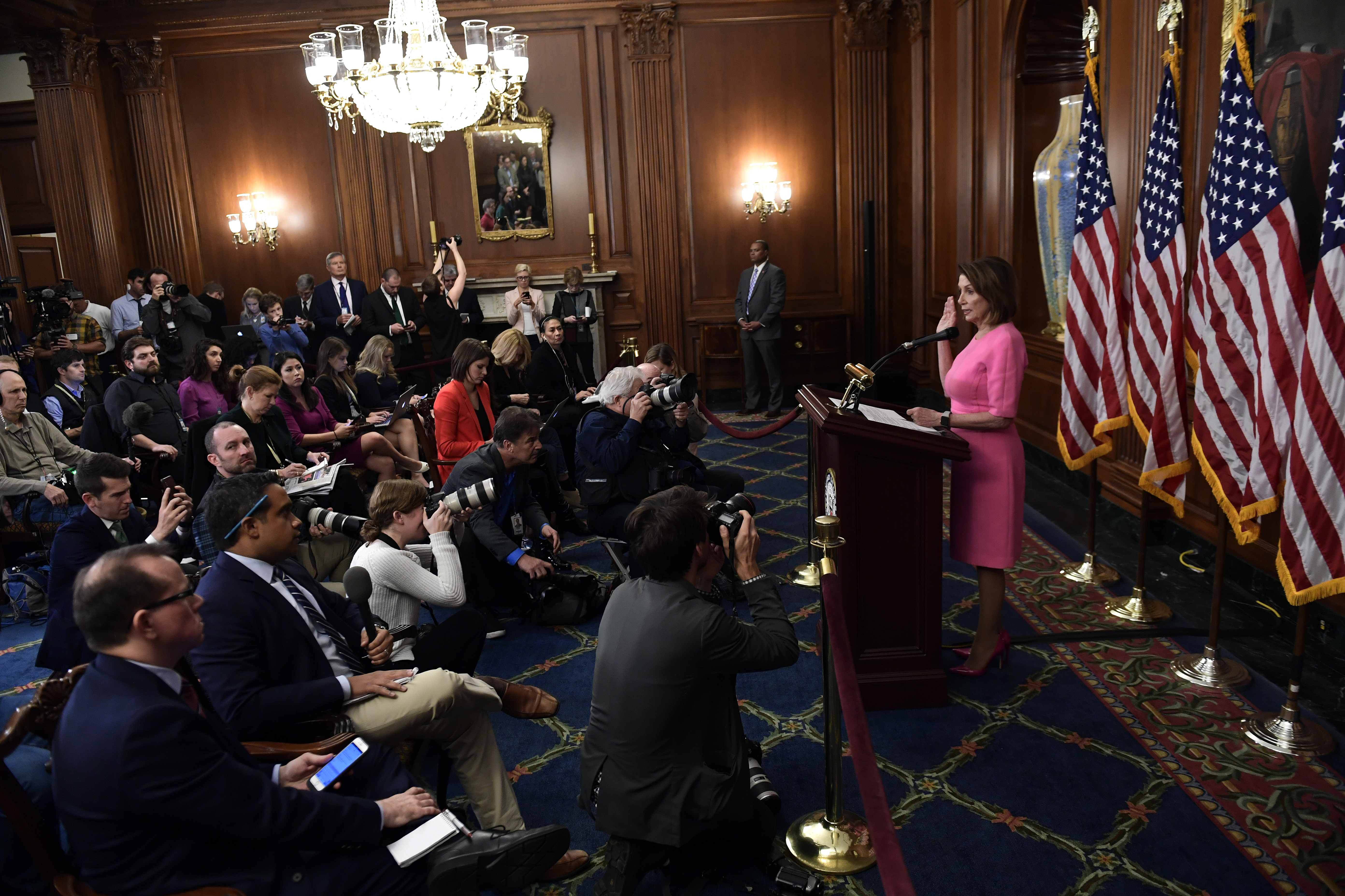 House Minority Leader Nancy Pelosi of Calif., speaks during a news conference on Capitol Hill on Nov. 7, 2018. (Susan Walsh/AP)