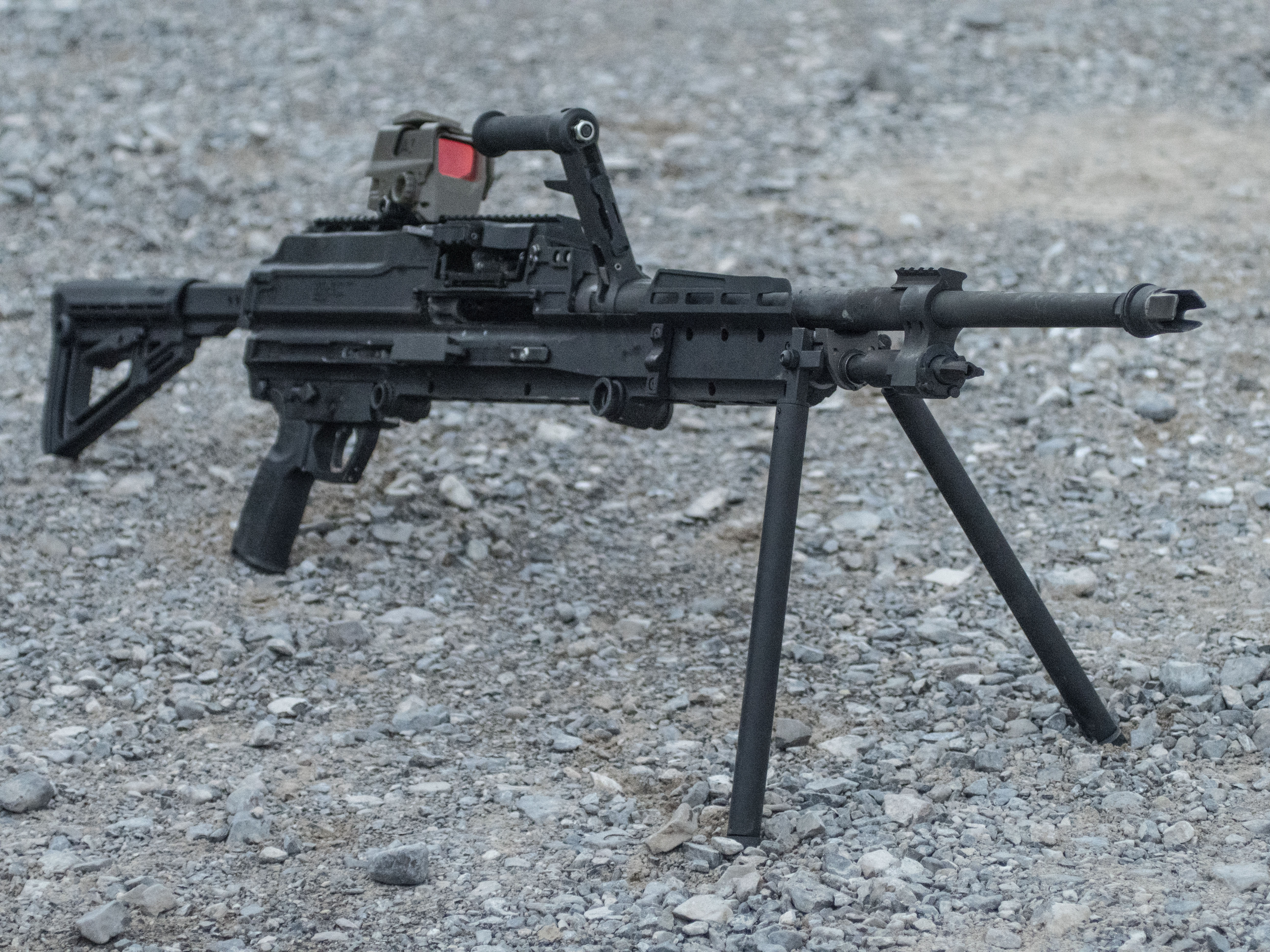 This is the Sig Sauer Lightweight Machine Gun or SLMG. The company hopes to win a Special Operations Command contract with this 20-pound medium machine gun in .338 NM. (Sig Sauer)