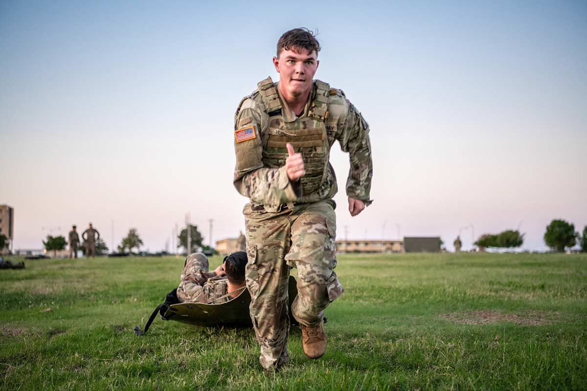 Soldiers conduct an intense circuit training course in preparation for the Army Combat Fitness Test, at Fort Sill, Okla. They are from 1st Battalion, 14th Field Artillery Regiment, 75th Field Artillery Brigade. (Sgt. Dustin D. Biven/Army)